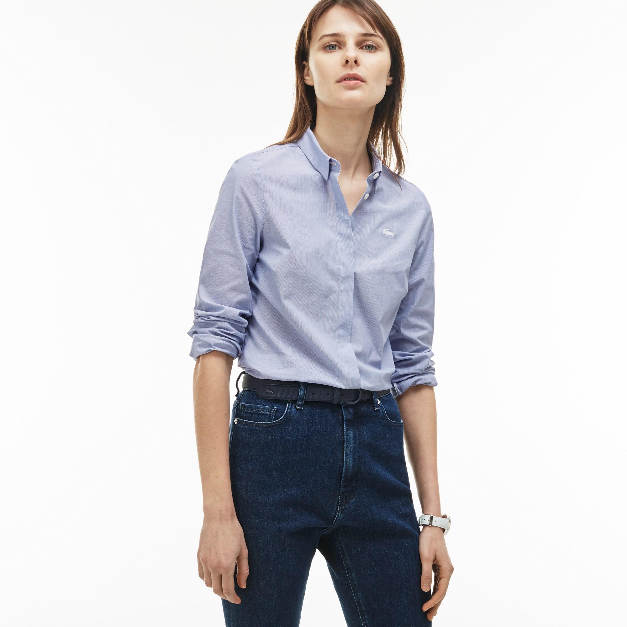 9f72e95fc881a Women s Slim Fit Striped Stretch Cotton Poplin Shirt