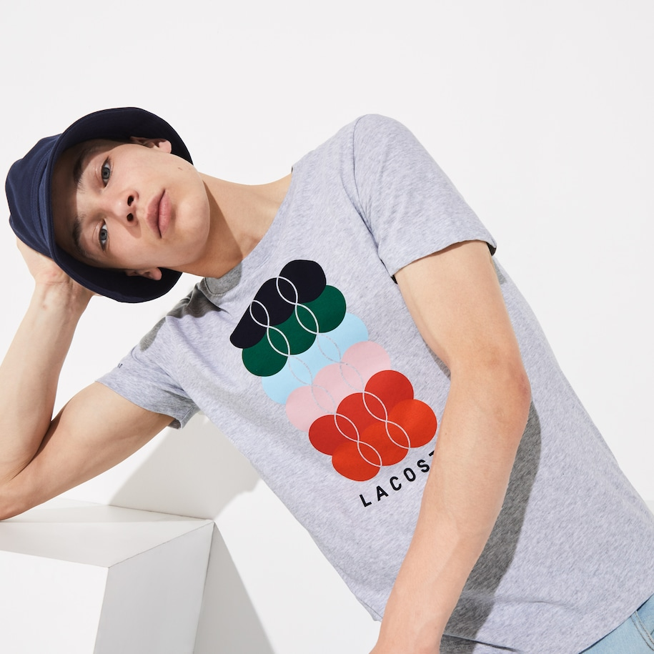 Men's Lacoste SPORT French Open Edition Coloured Print T-shirt