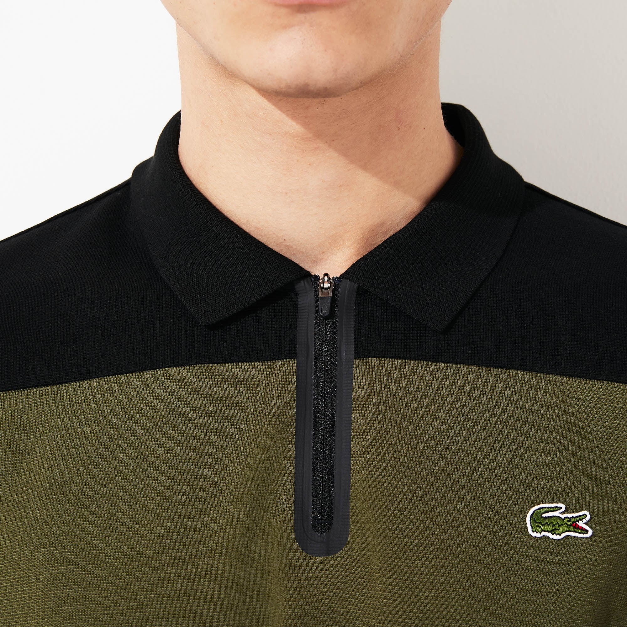 Men's Lacoste SPORT Ultra-Light Colourblock Cotton Zip Polo Shirt