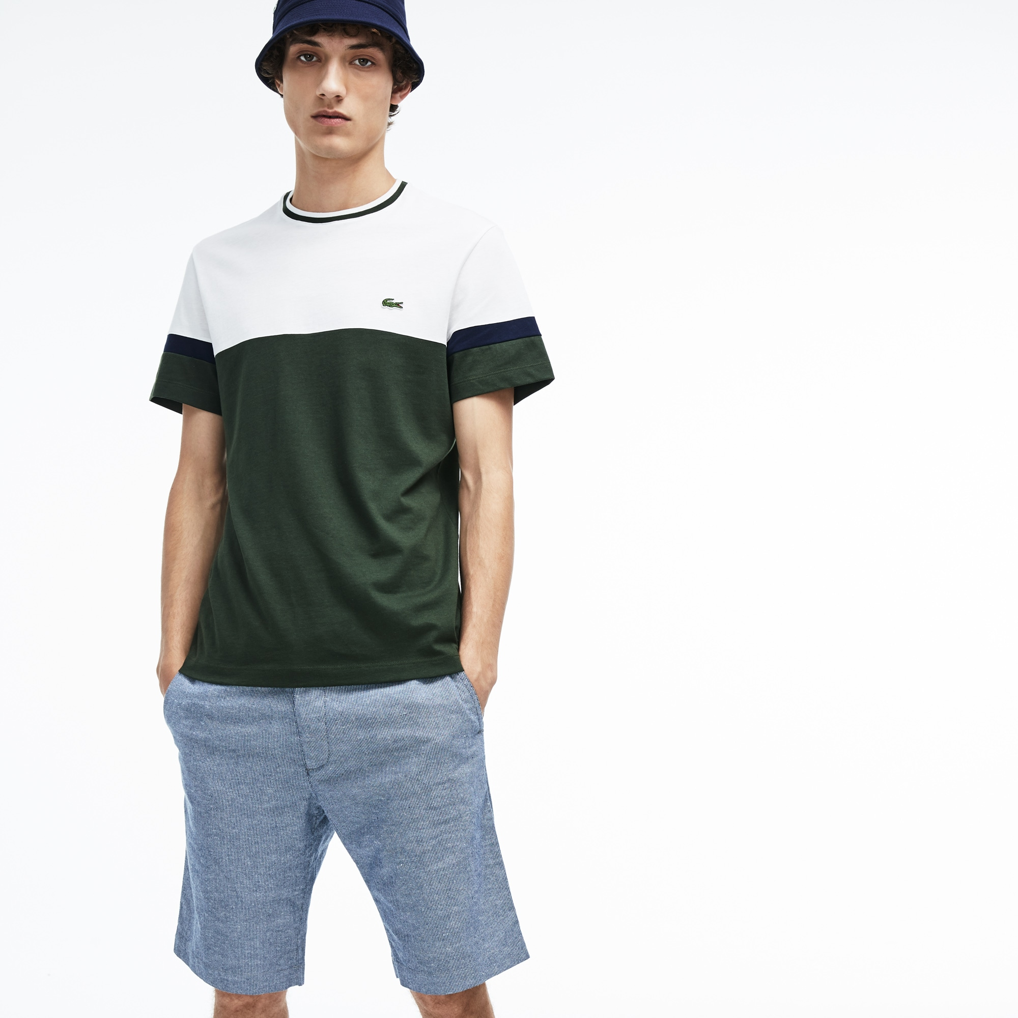Men's Crew Neck Colourblock Mini Piqué Jersey T-shirt