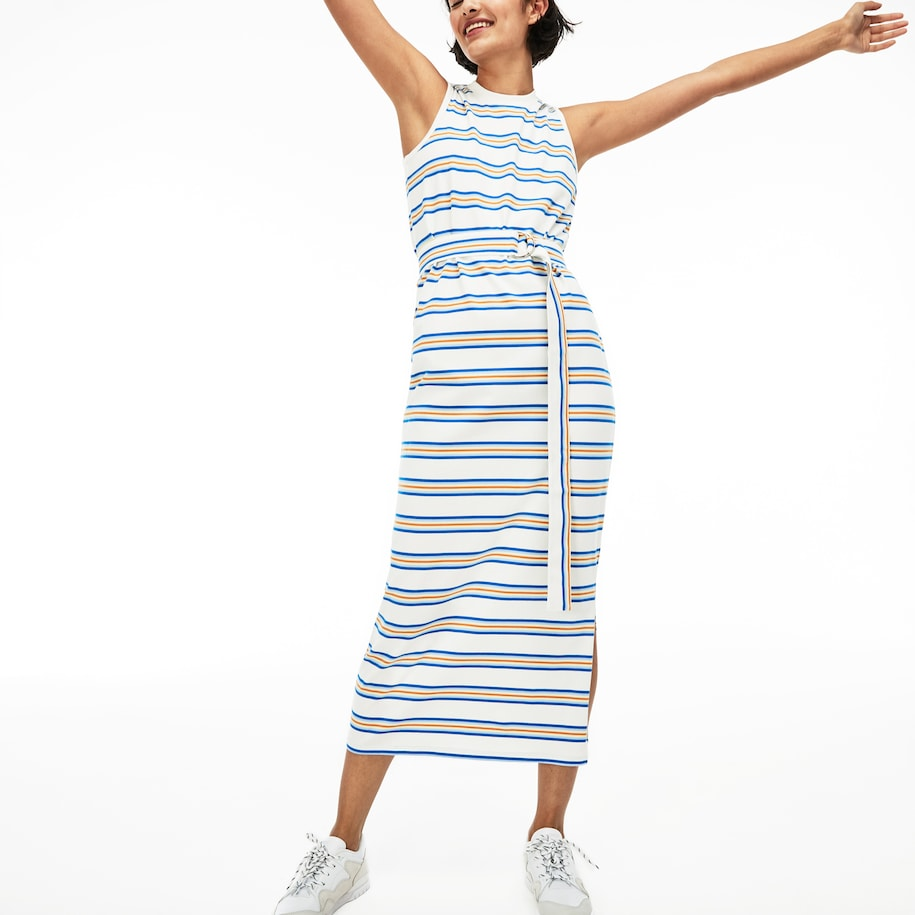 Women's Lacoste LIVE Rainbow Striped Cotton Long Dress