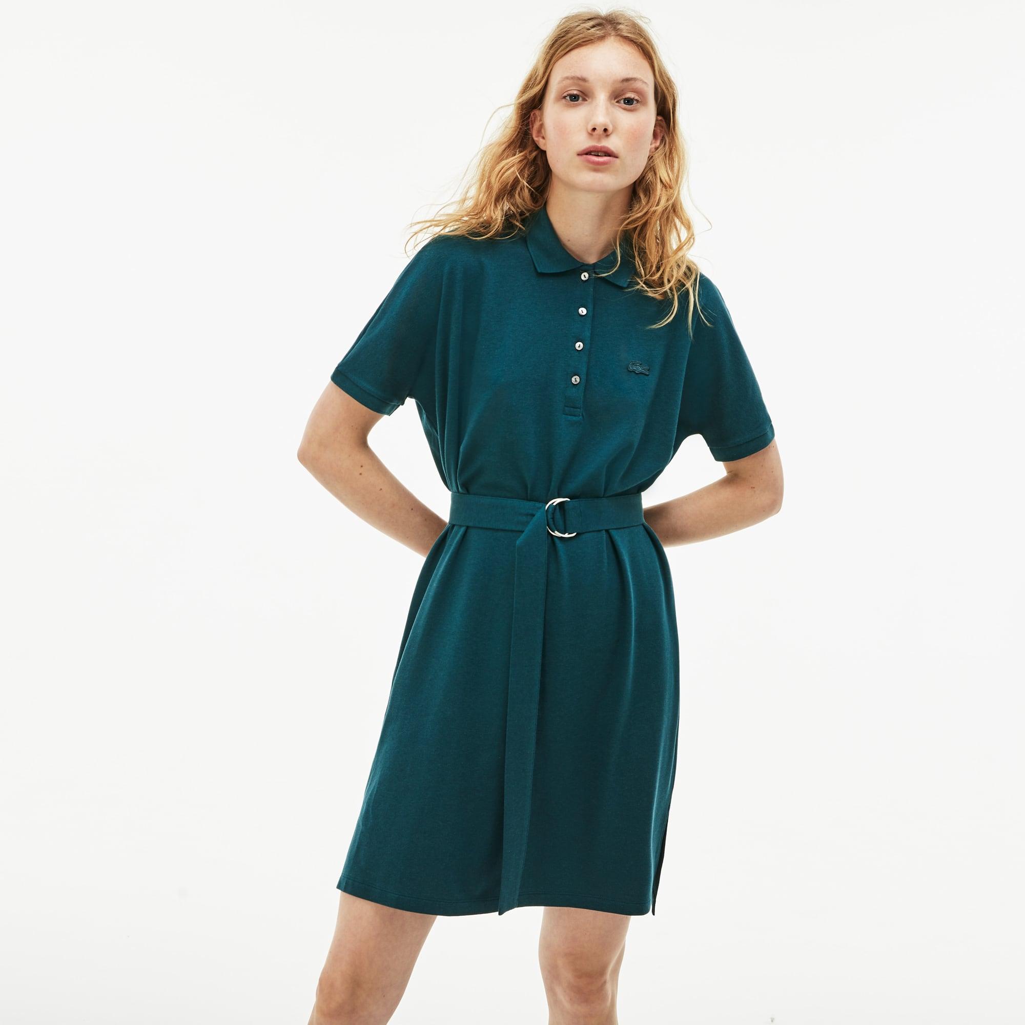 787007074 Women s Lacoste Flowing Cotton Piqué Polo Dress