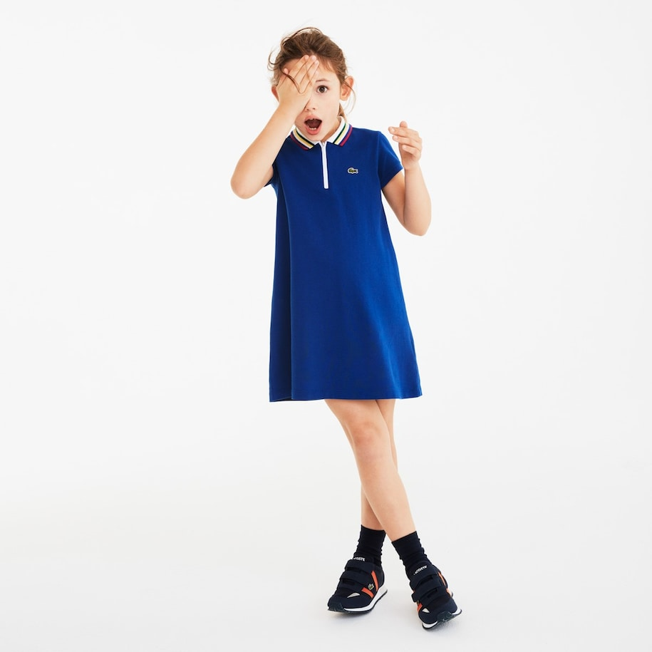 Girls' Zip Neck Cotton Piqué Polo Dress
