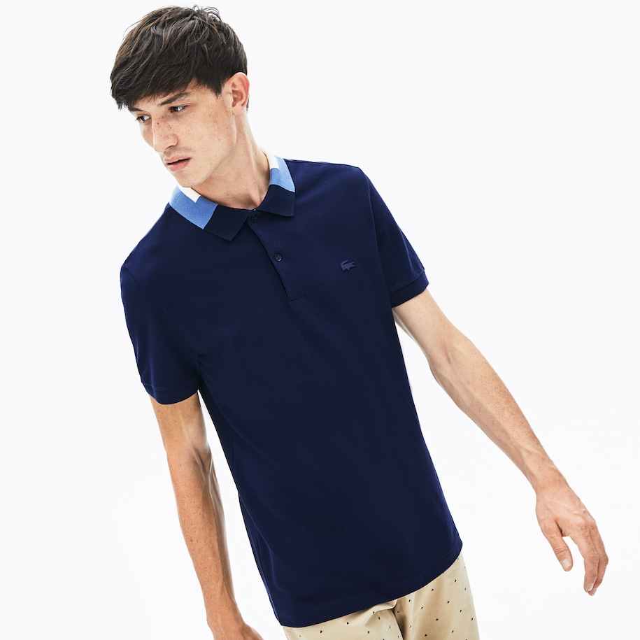 Men's Lacoste Slim Fit Colourblock Collar Cotton Piqué Polo Shirt