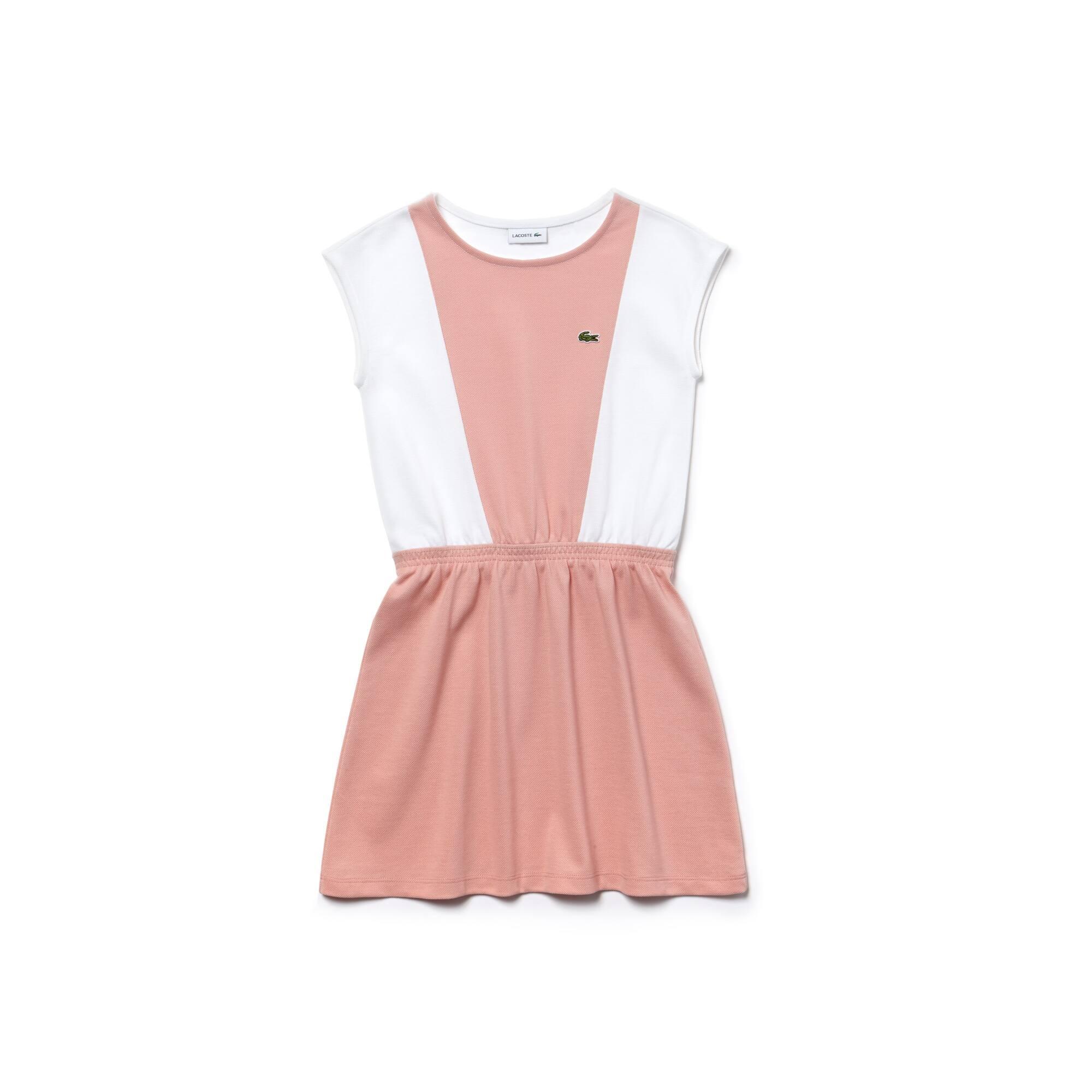 Girls' Fitted Waist Colorblock Petit Piqué Dress