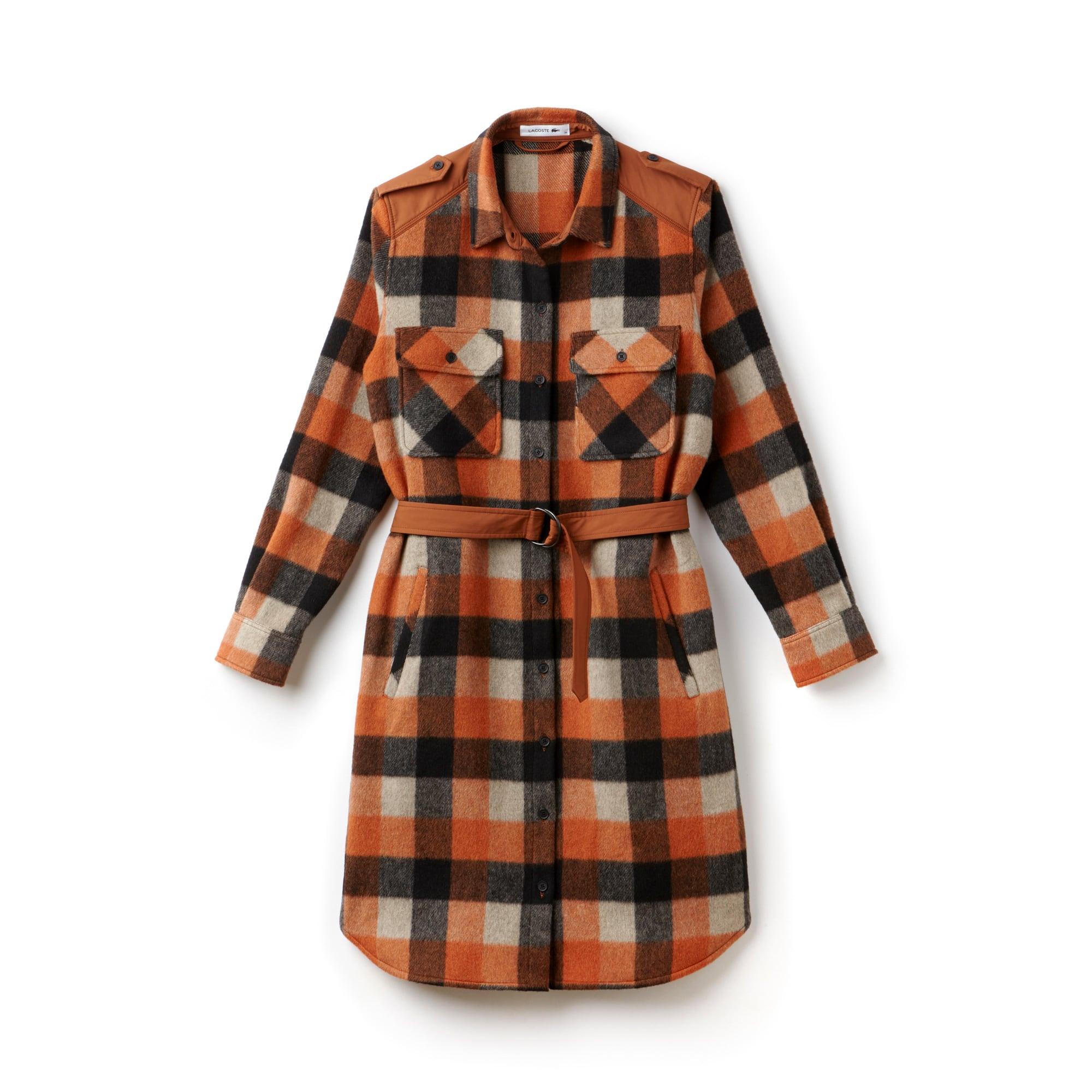 Women's Fashion Show Wool Flannel Check Shirt Dress