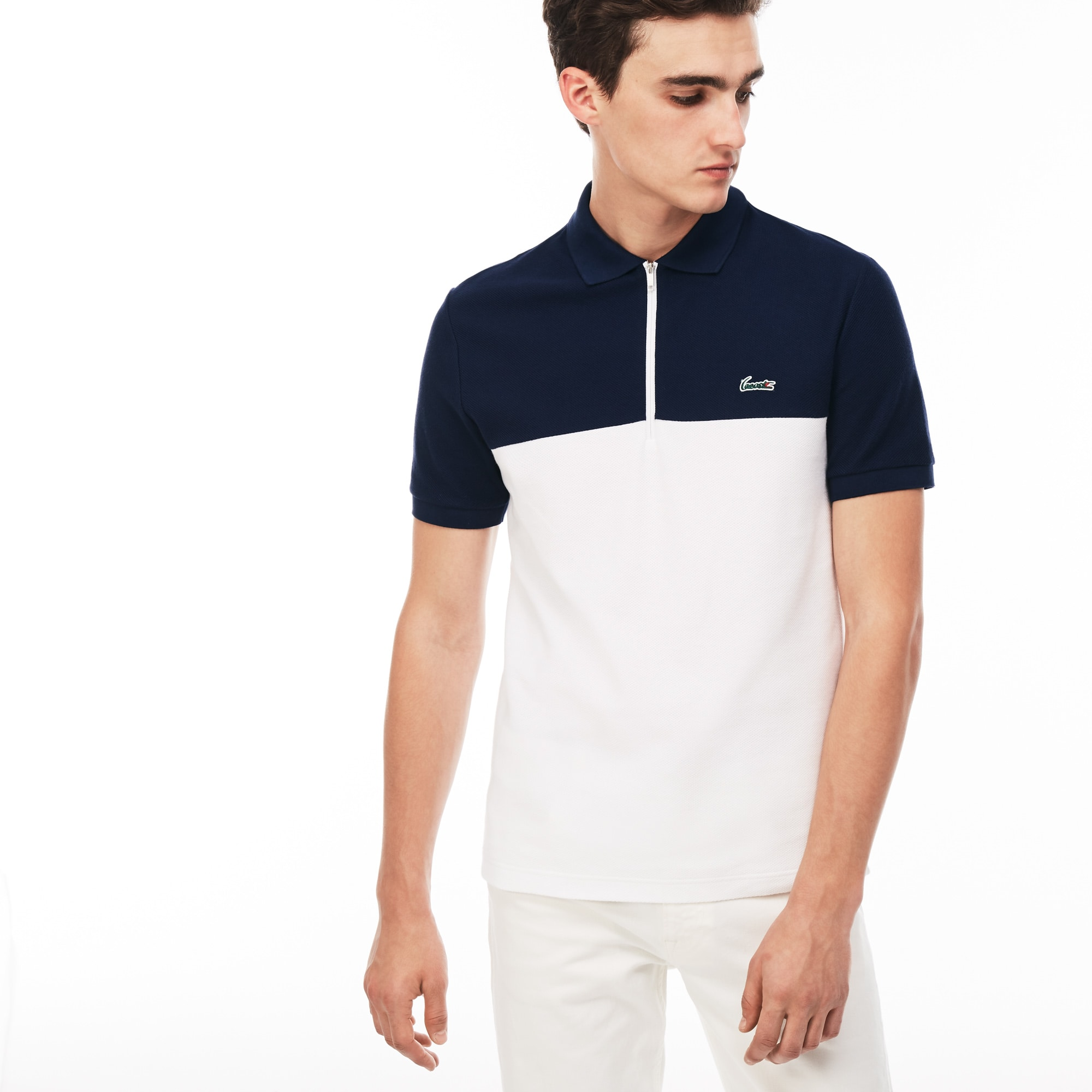 23974205 Men's Lacoste Slim Fit Colourblock Honeycomb Cotton Polo Shirt