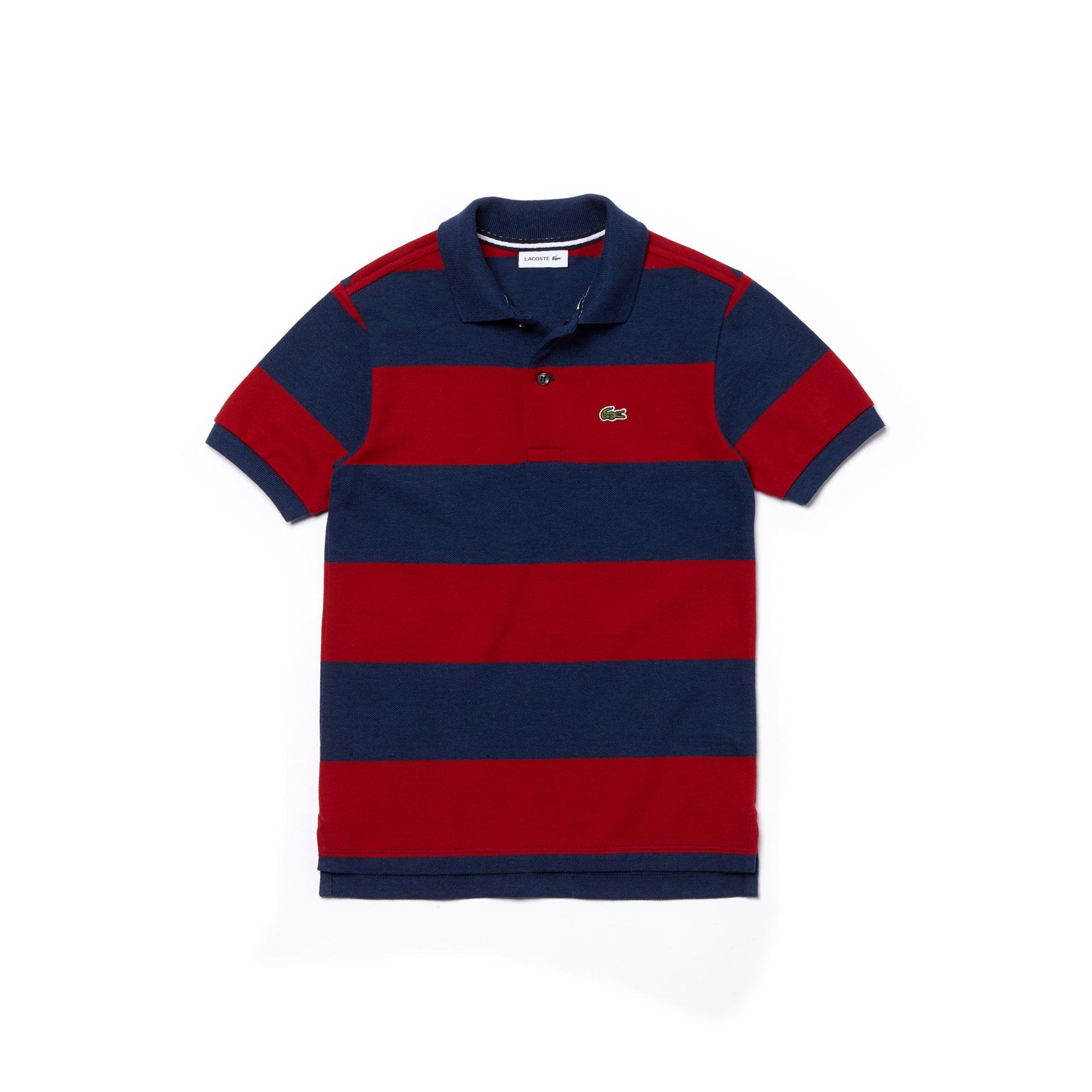LACOSTE Jungen-Poloshirt aus Petit Piqué mit Streifen
