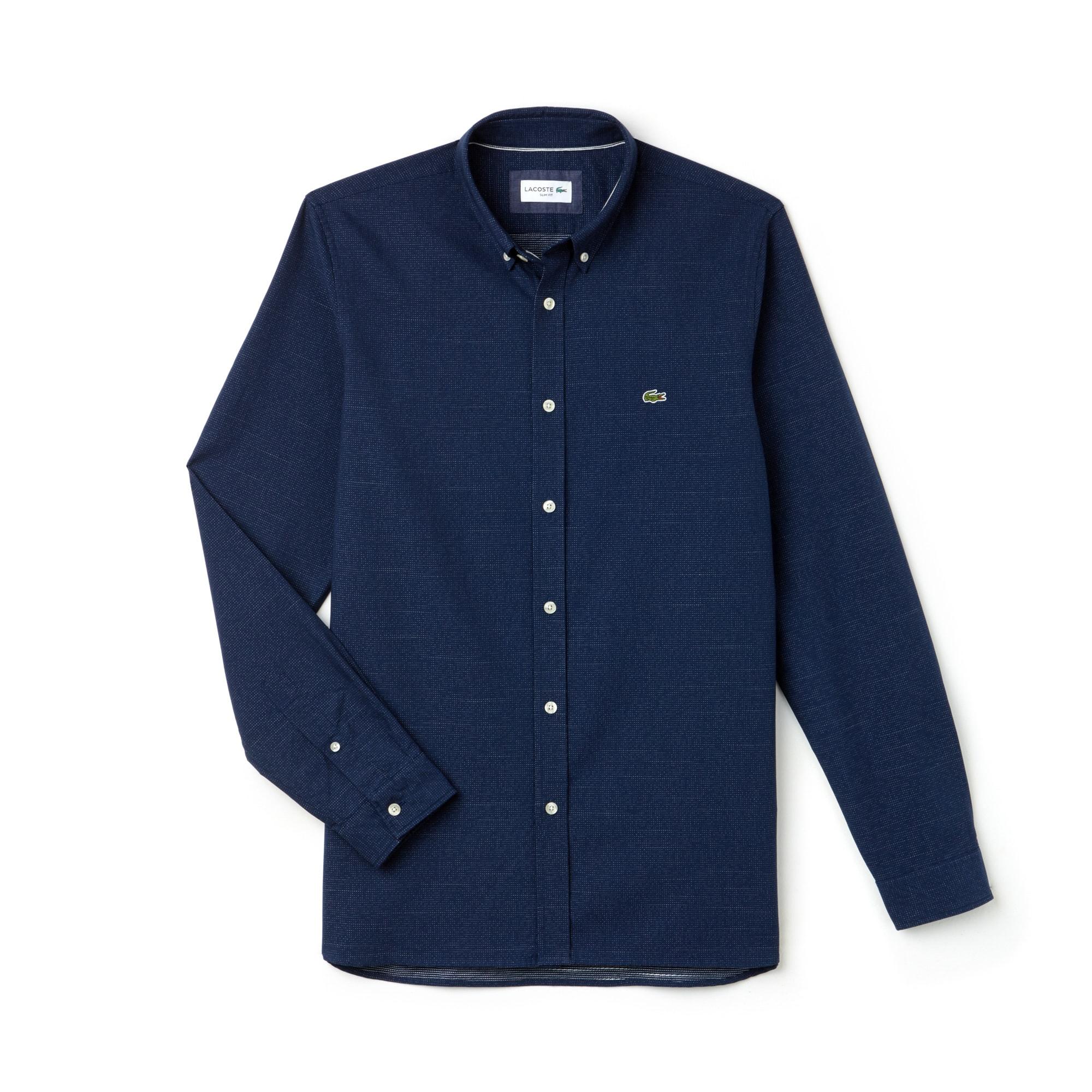 Slim Fit Herren-Hemd aus Jacquard-Baumwolle mit Punkten