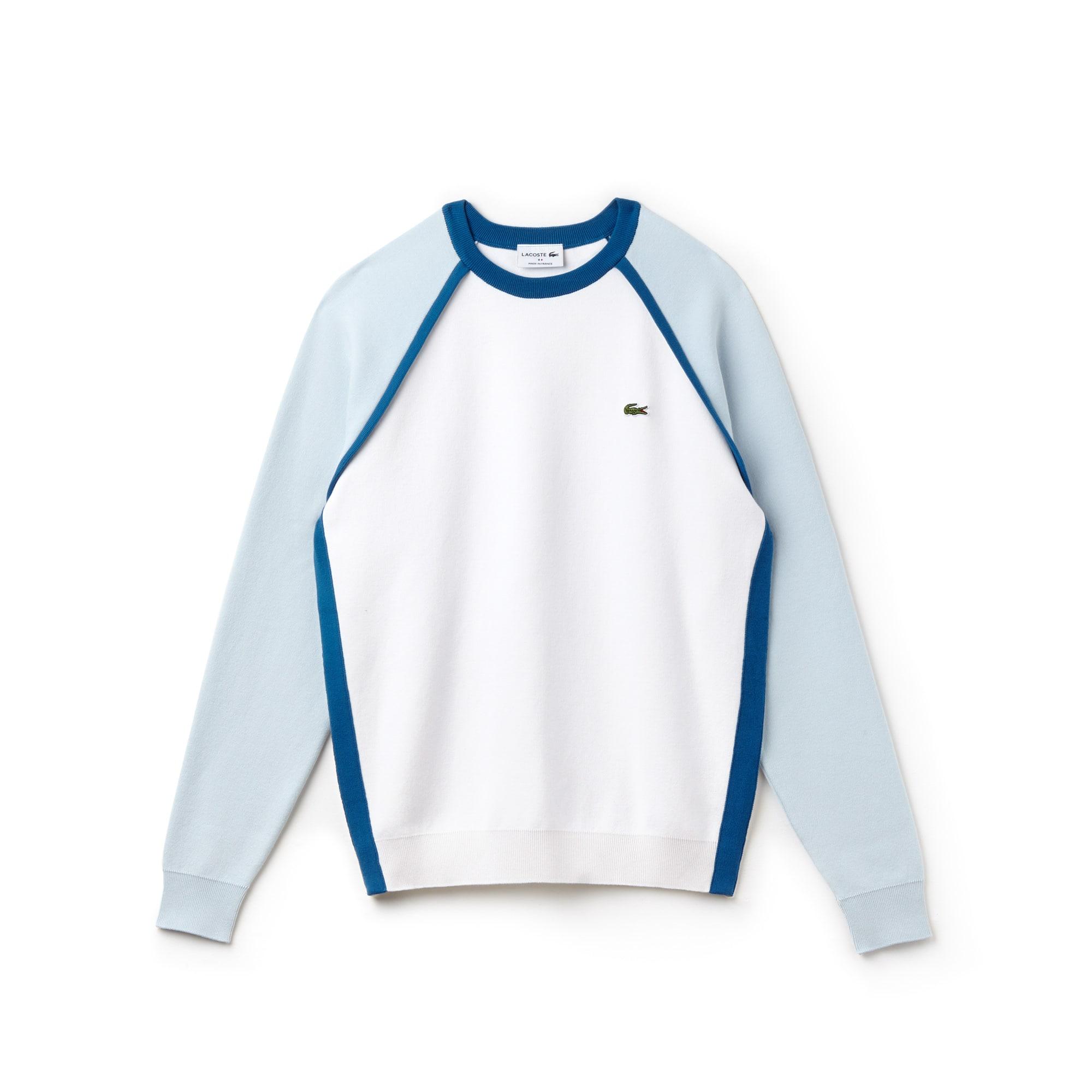 Herren Made in France Rundhals Interlock-Pullover mit Colorblocks