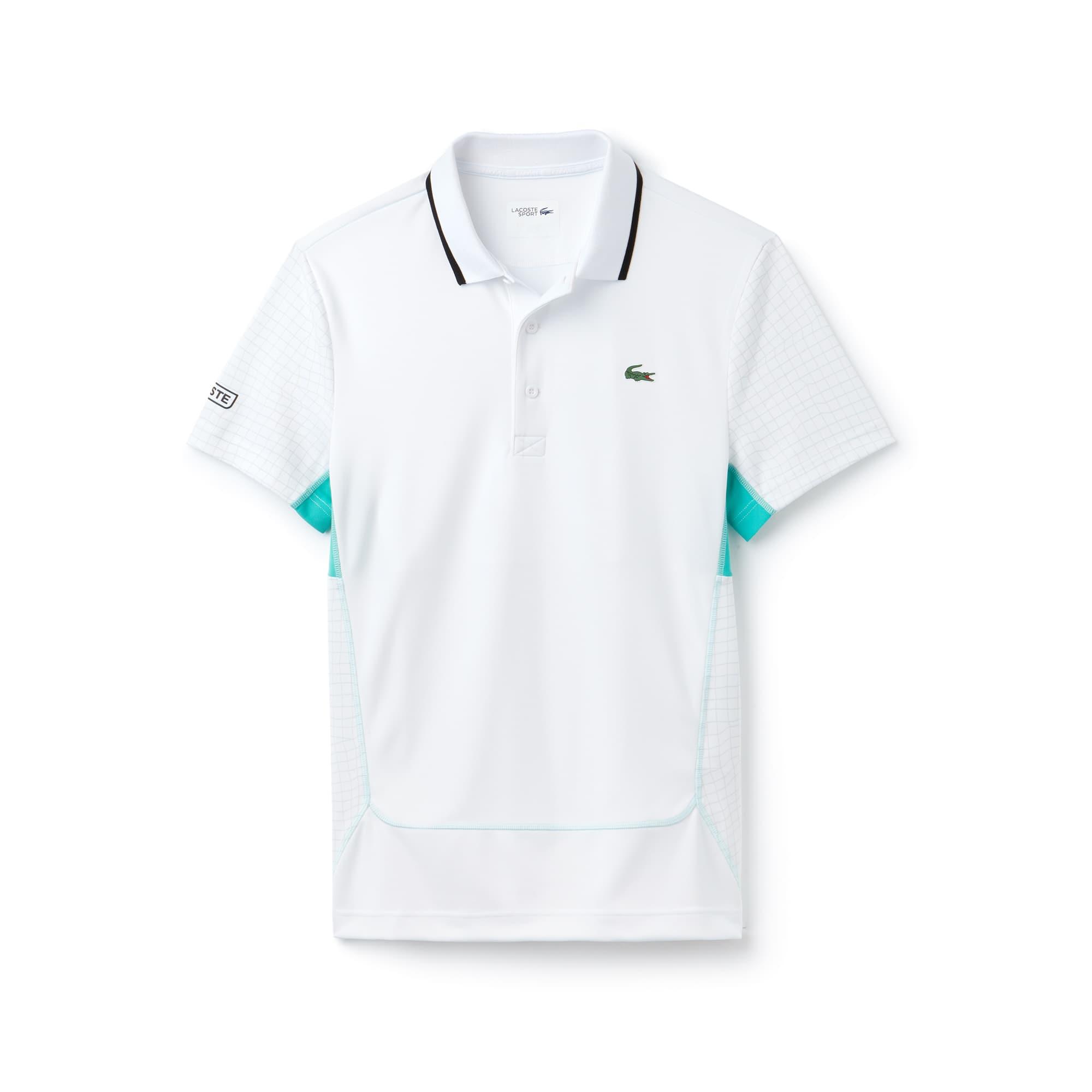Herren LACOSTE SPORT Netz-Print Tennis Poloshirt