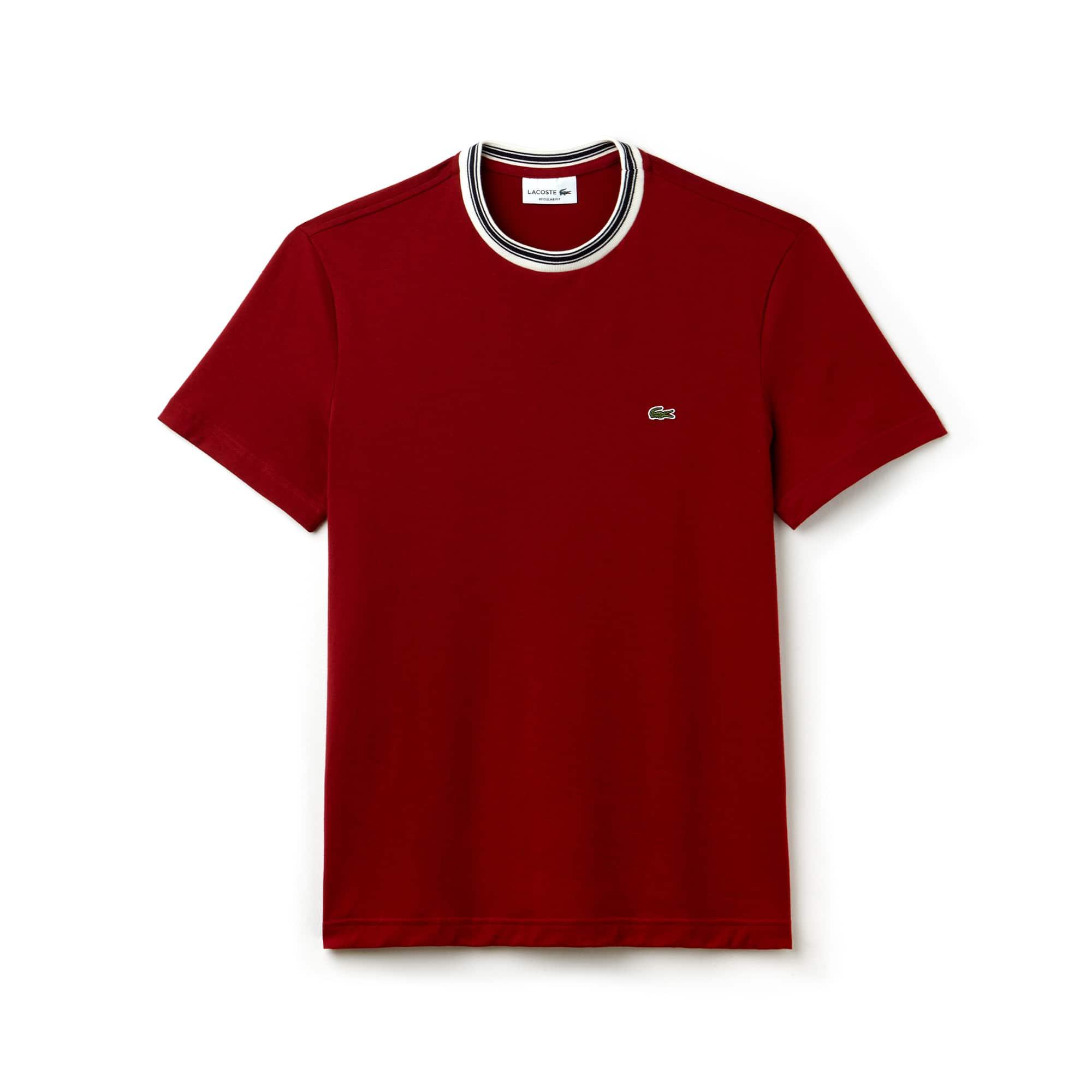 Herren-Rundhals-T-Shirt aus gestreiftem Baumwolljersey