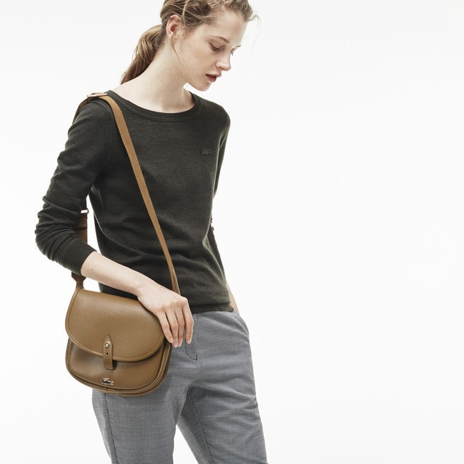 Damen-Umhängetasche CHANTACO aus Piqué-Leder mit Klappe