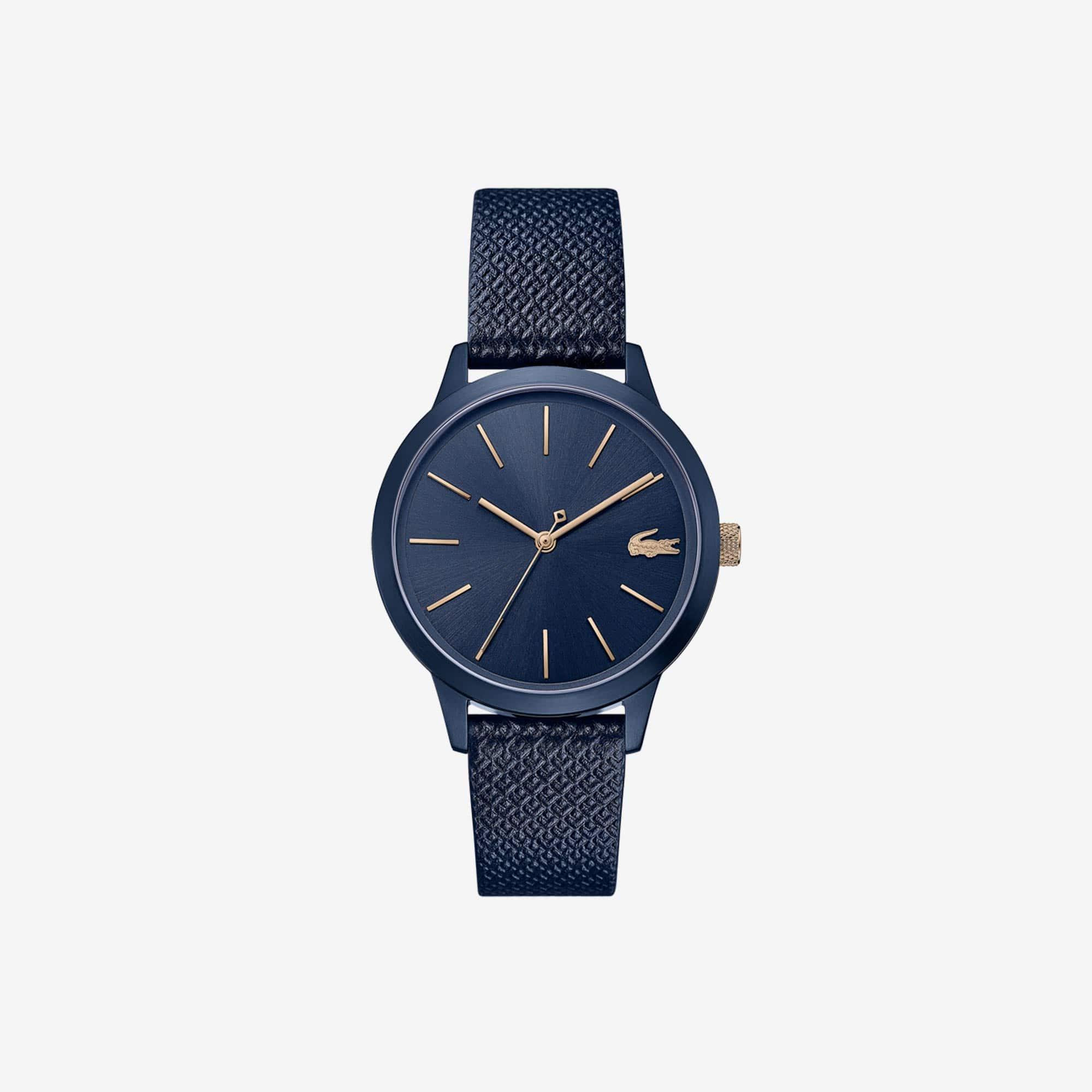 Damen LACOSTE 12.12 Premium-Uhr mit blauem Lederband mit eingeprägtem Petit Piqué Muster