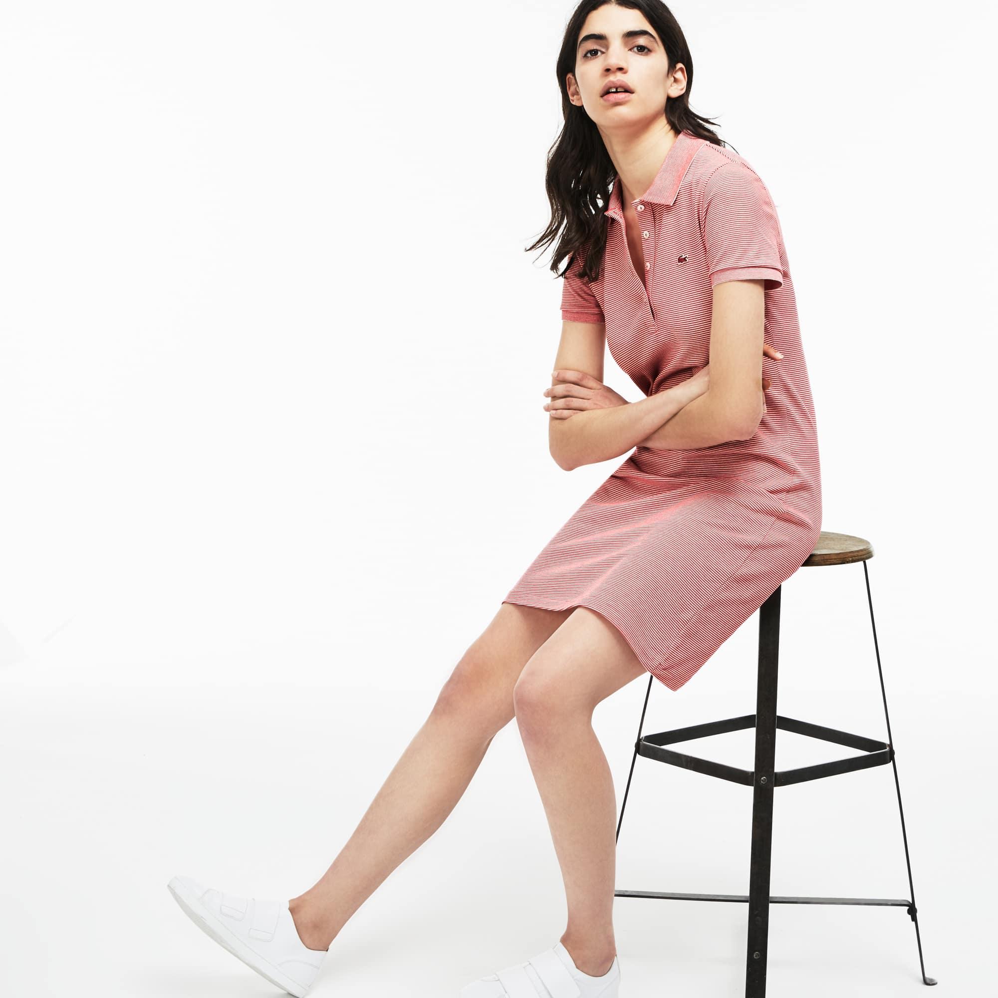 Slim Fit Damen-Polokleid aus Mini-Piqué mit Nadelstreifen