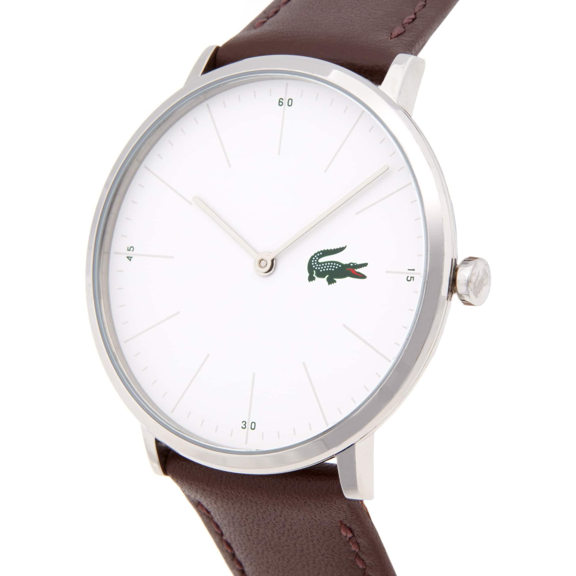 Uhr mit schmalem weißem Zifferblatt und braunem Lederarmband Moon