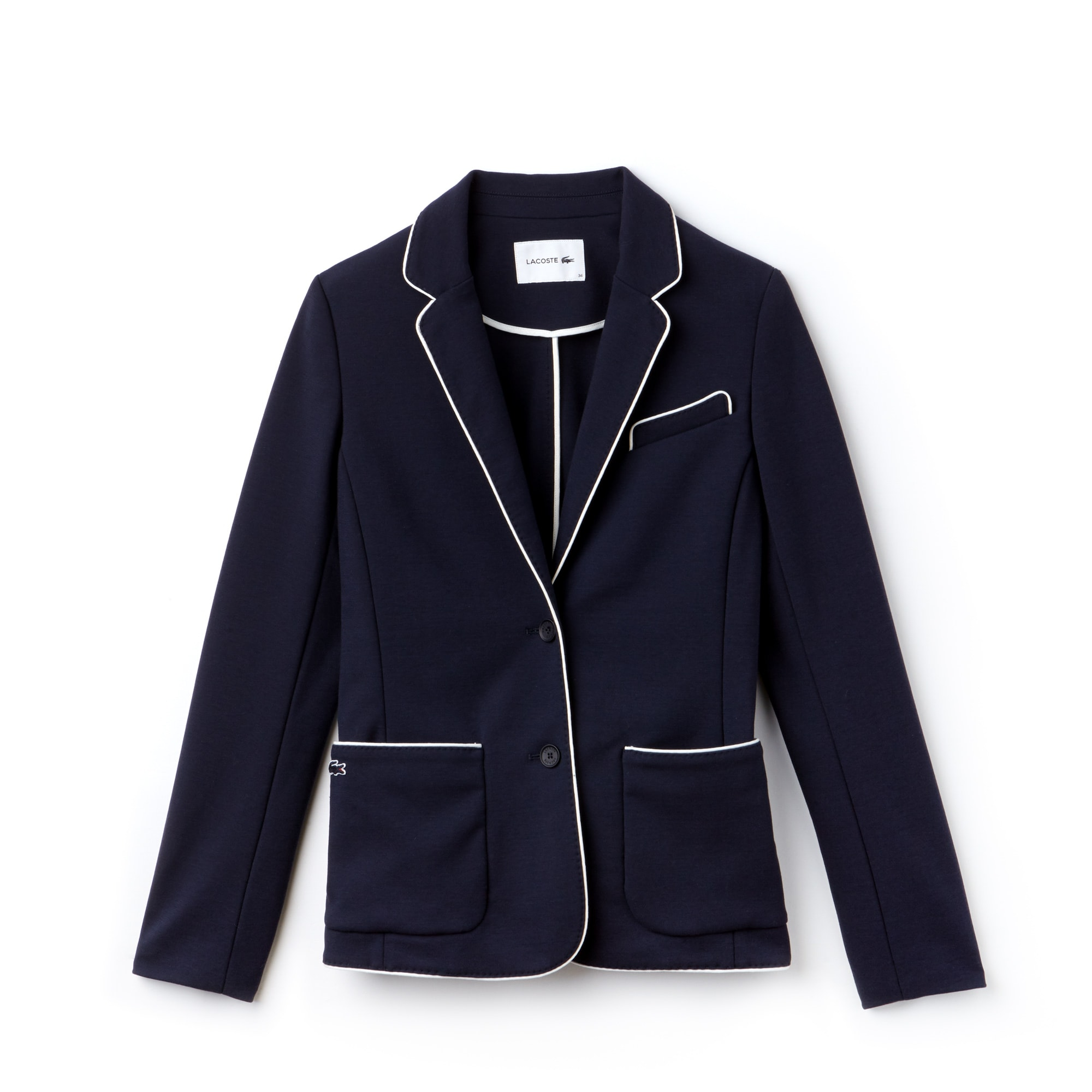 Damen-Blazer aus Baumwollkrepp-Interlock mit Paspeln