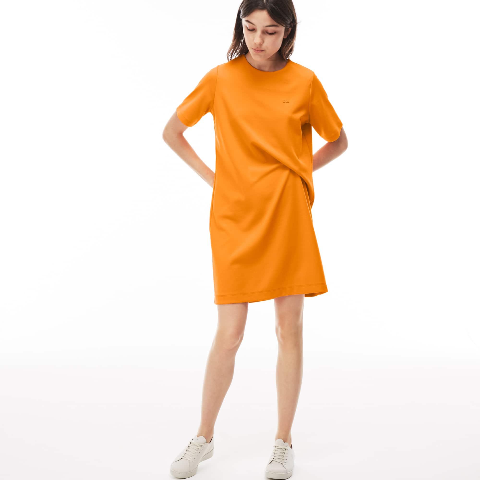 Damen LACOSTE LIVE asymmetrisches Kleid aus Baumwolljersey