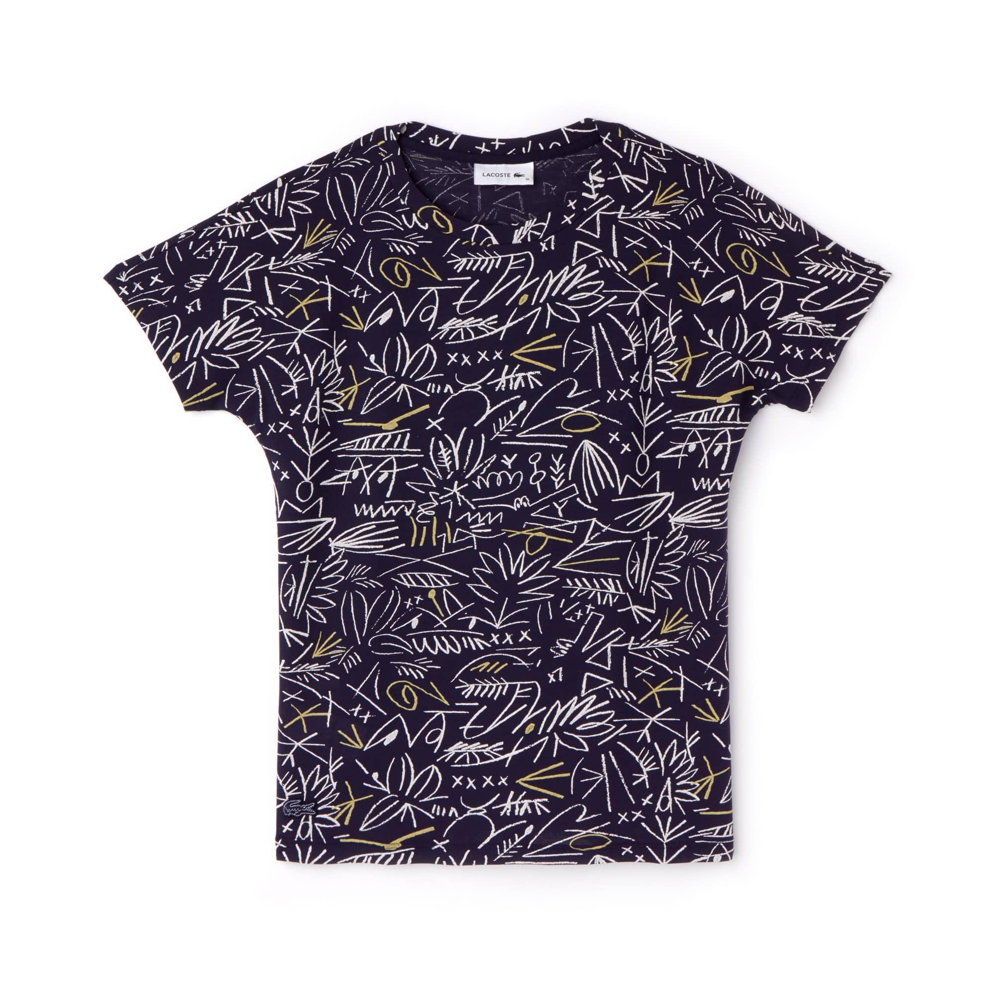 Damen Rundhals T-Shirt aus Baumwollkreppjersey mit Aufdruck