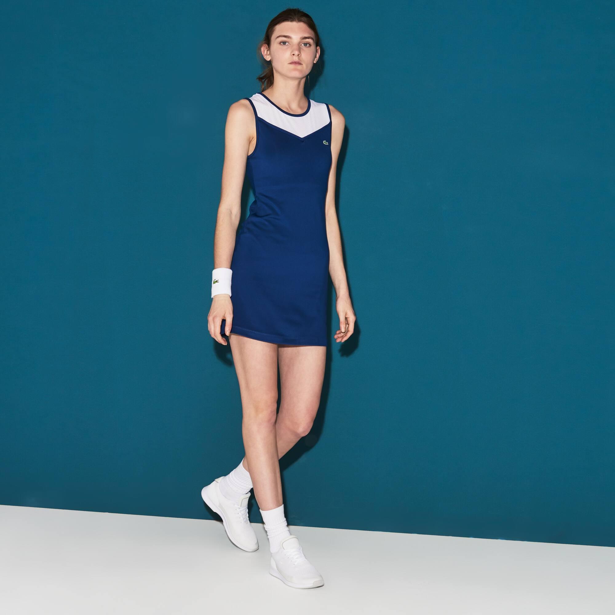 Damen LACOSTE SPORT Racerback-Tenniskleid aus Jersey und Mesh