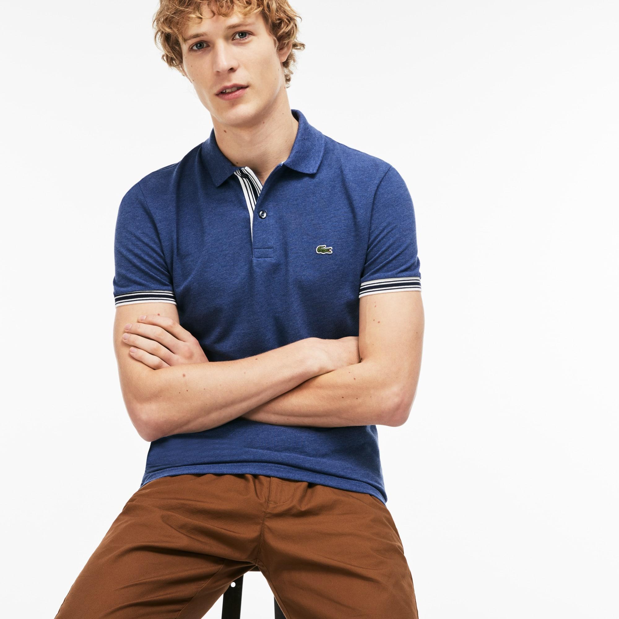 Slim Fit Herren-Poloshirt aus Petit Piqué mit Paspeln LACOSTE