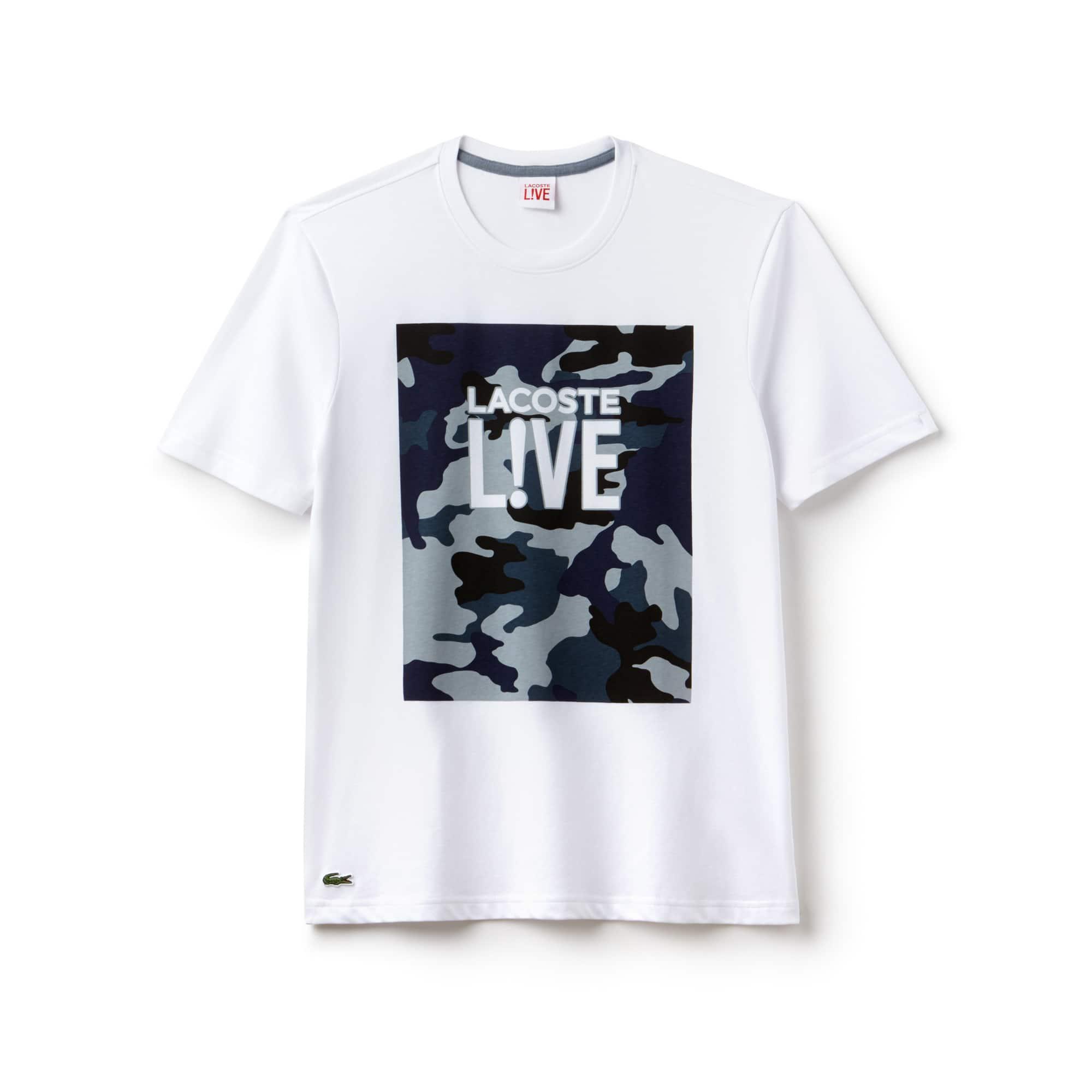 Herren-Rundhals-T-Shirt aus Jersey mit Aufdruck LACOSTE L!VE