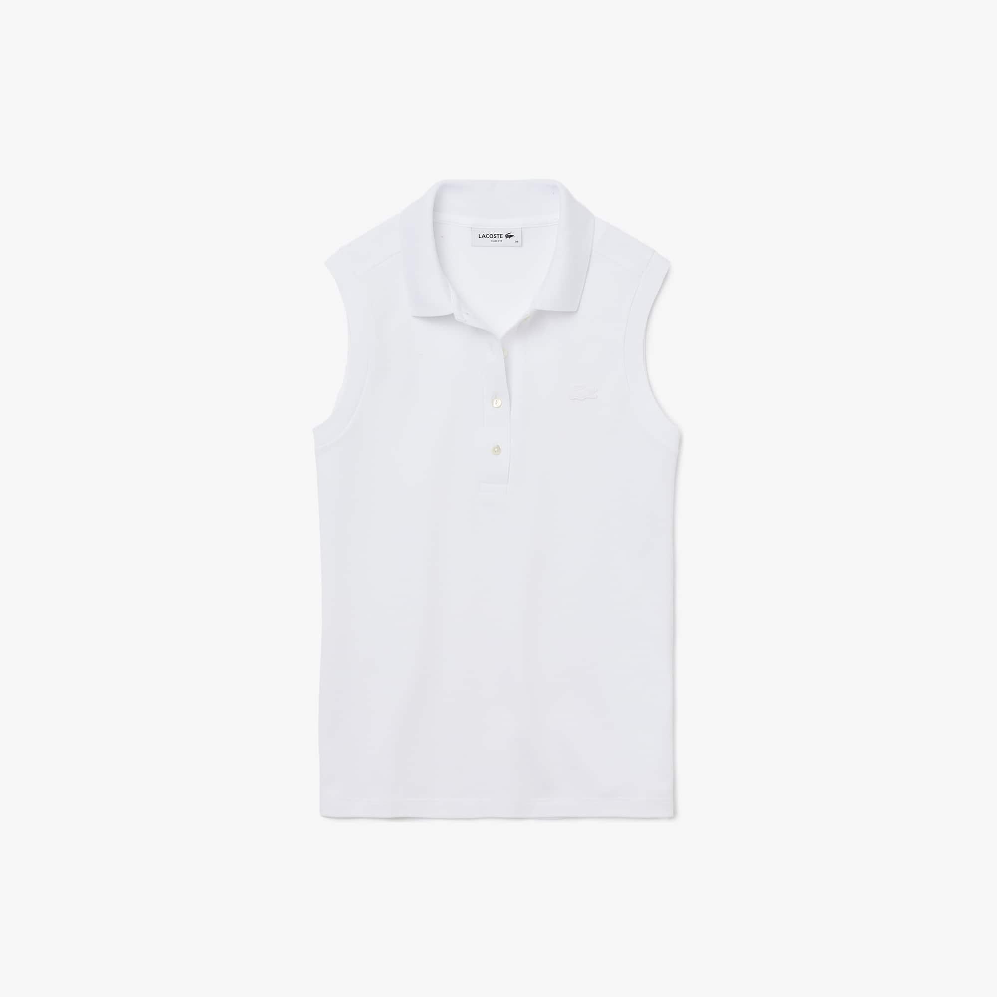 Ärmelloses Damen LACOSTE Poloshirt aus Baumwoll-Piqué