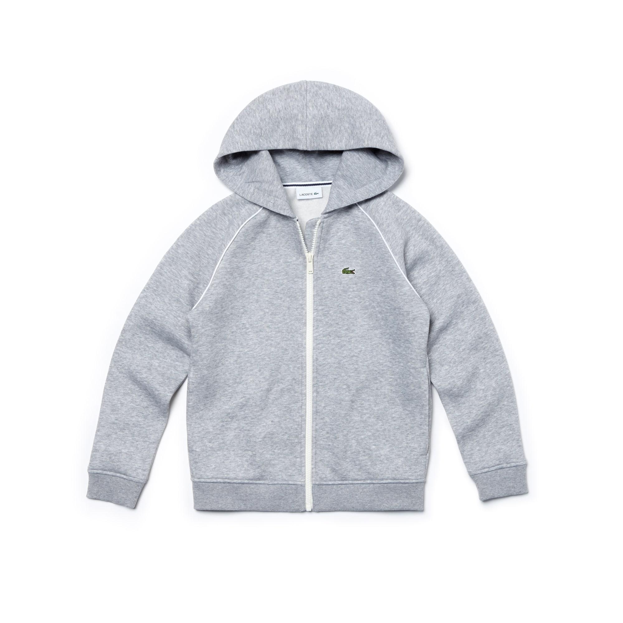 Jungen-Sweatshirt aus Fleece mit Kapuze und Paspeln
