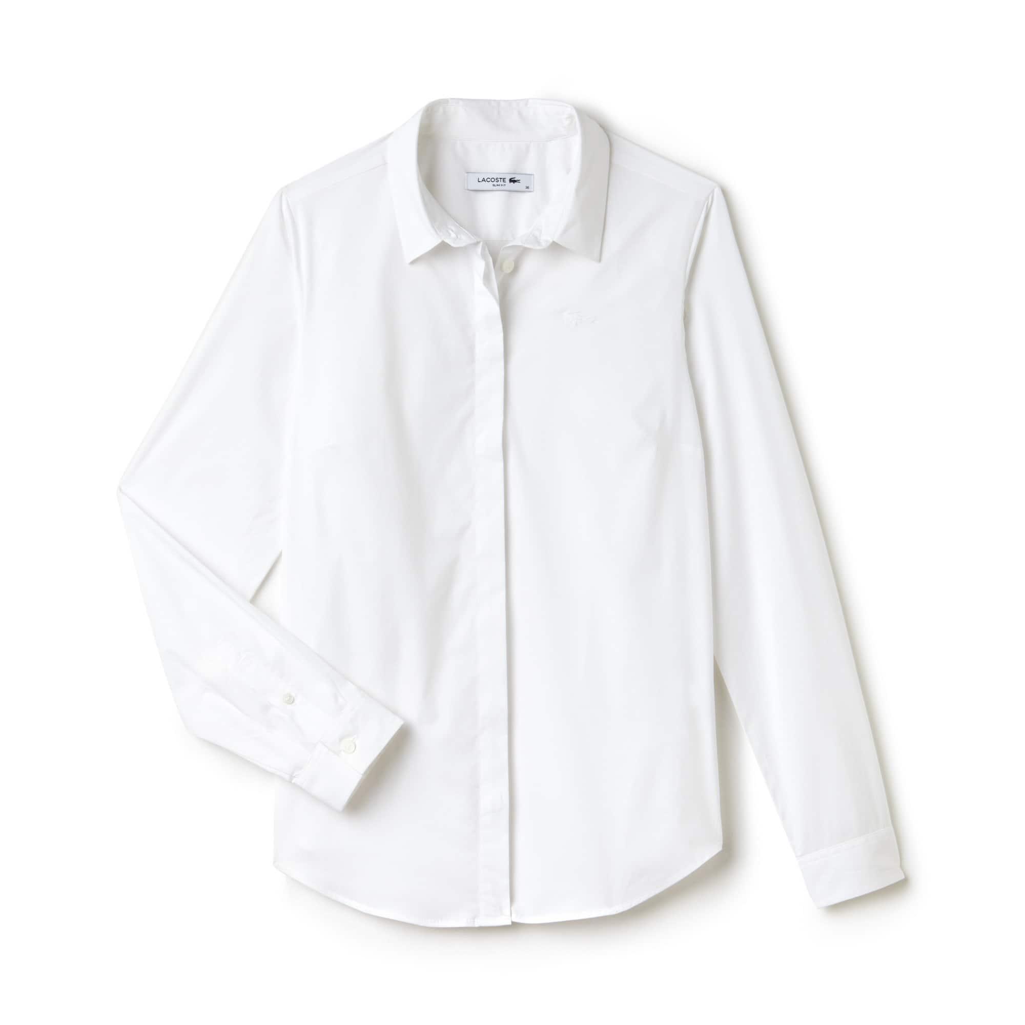 Slim Fit Damen-Hemd aus Baumwoll-Popeline mit Stretch