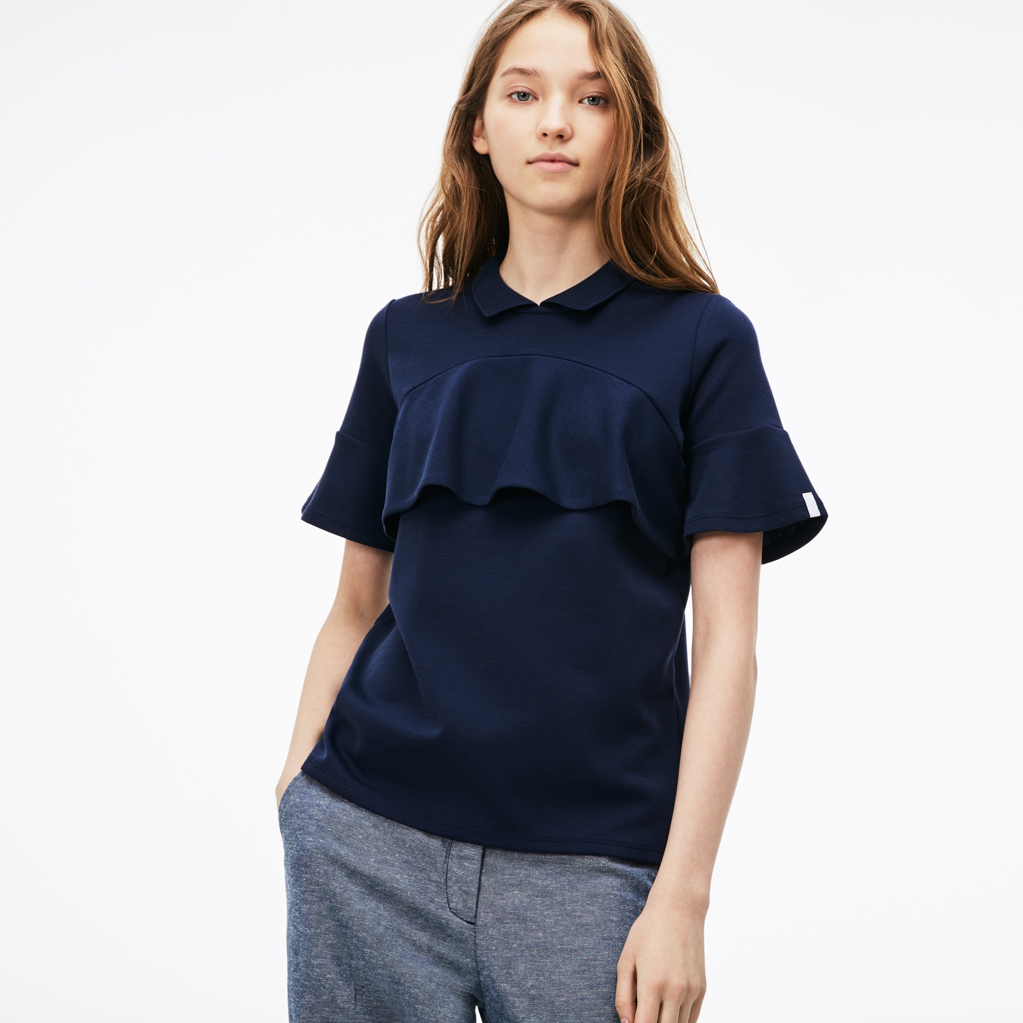 Lockeres Damen-Poloshirt aus Jersey mit Volants LACOSTE L!VE