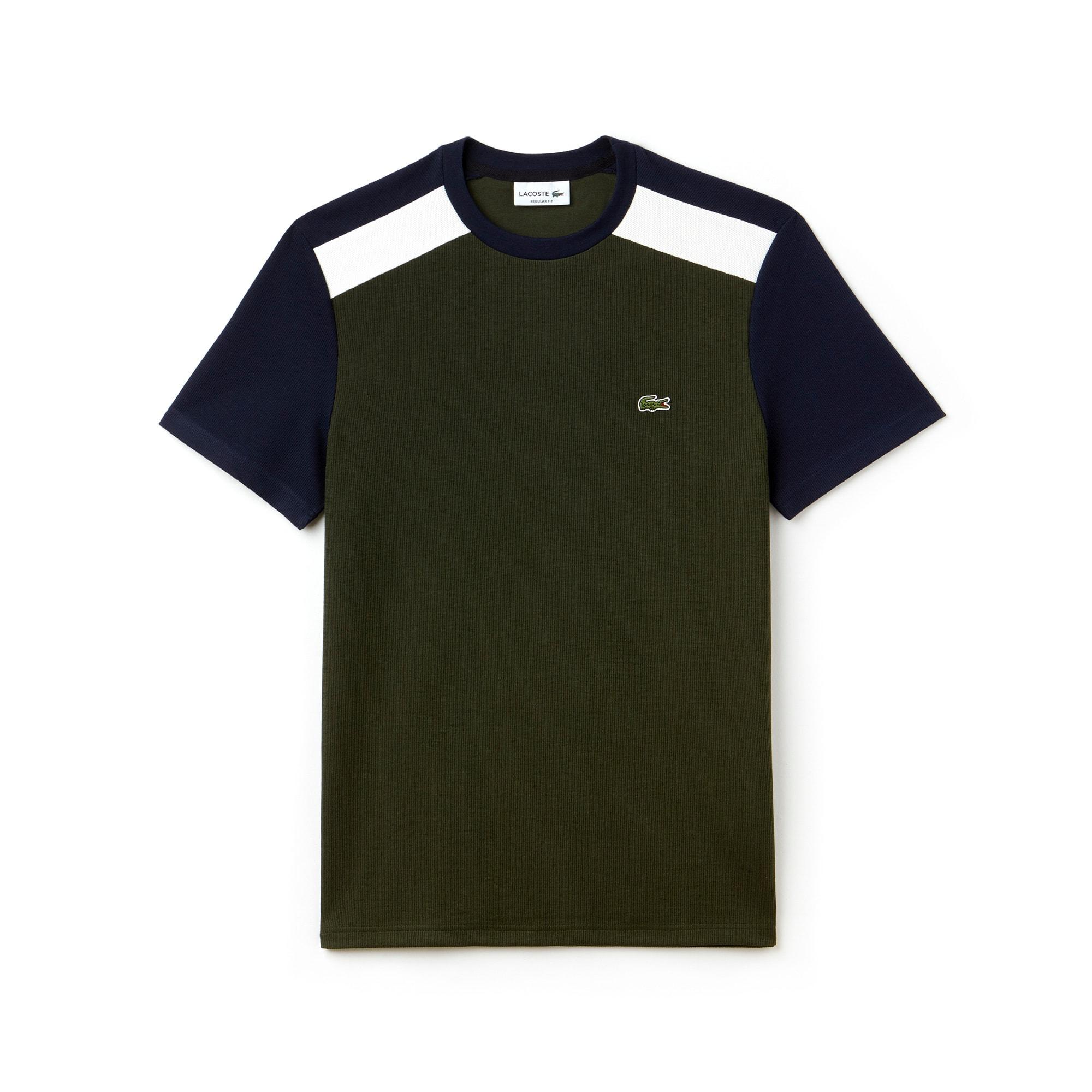 Herren-Rundhals-Shirt aus Jersey und Piqué im Colorblock-Design