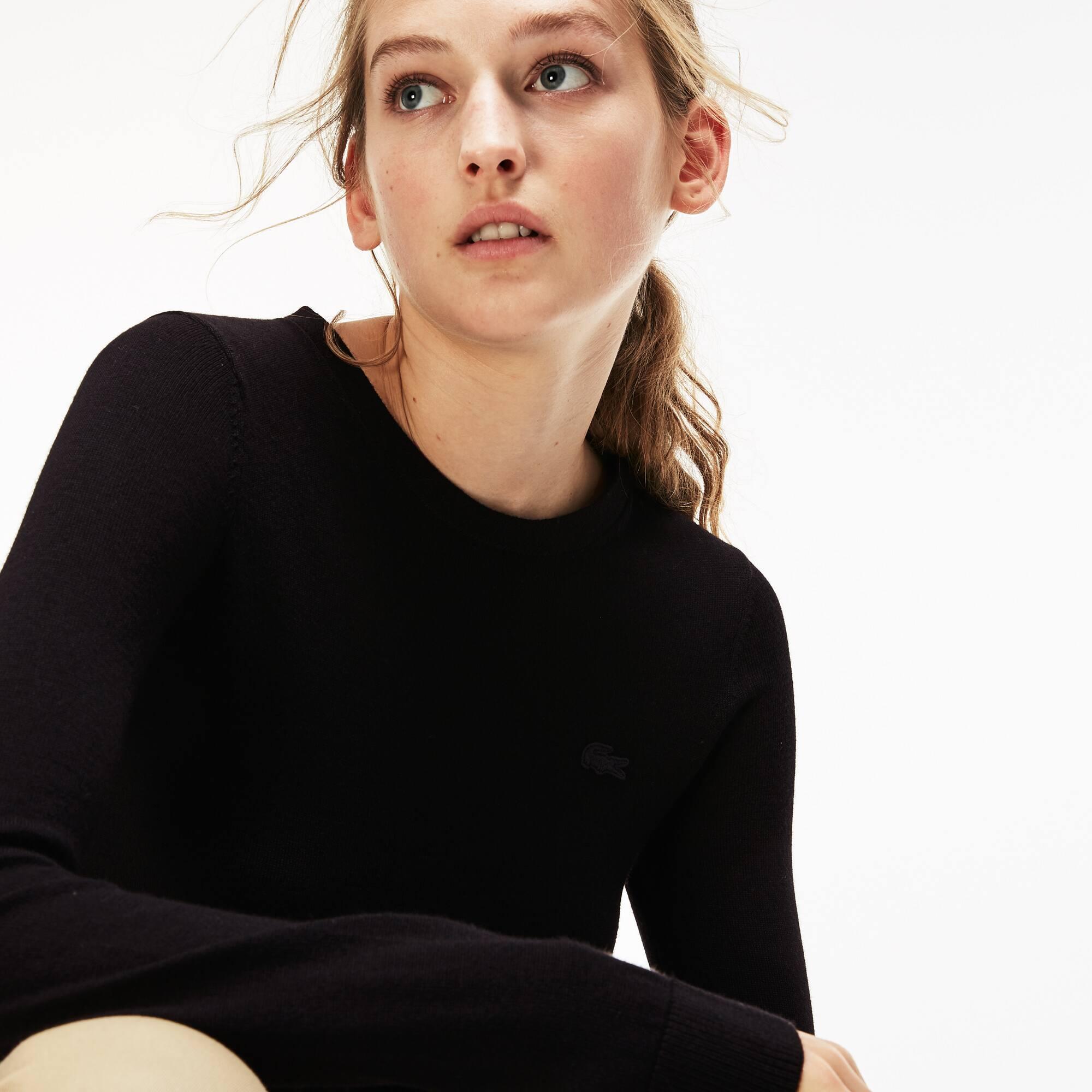 Damen-Rundhalspullover aus Woll-Jersey