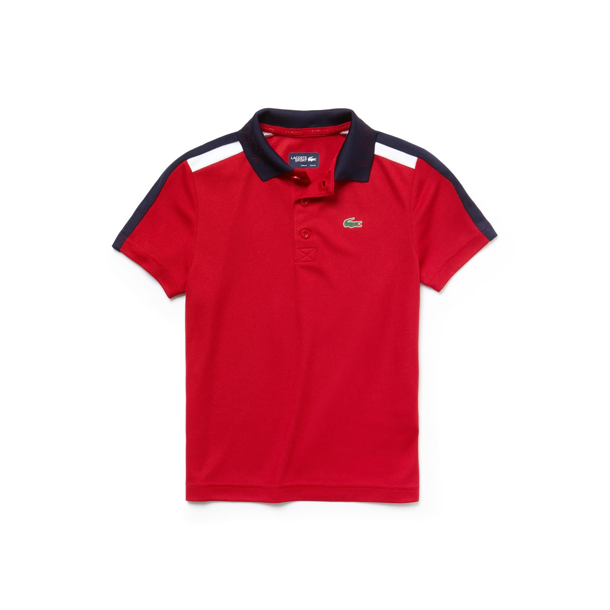 Jungen LACOSTE SPORT Tennis-Poloshirt aus Funktionspiqué mit Kontraststreifen