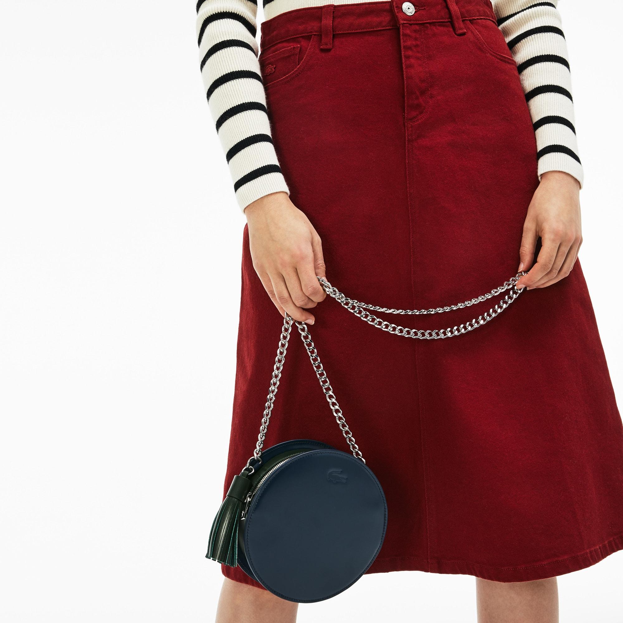 Damen LIVE runde Umhängetasche aus Leder
