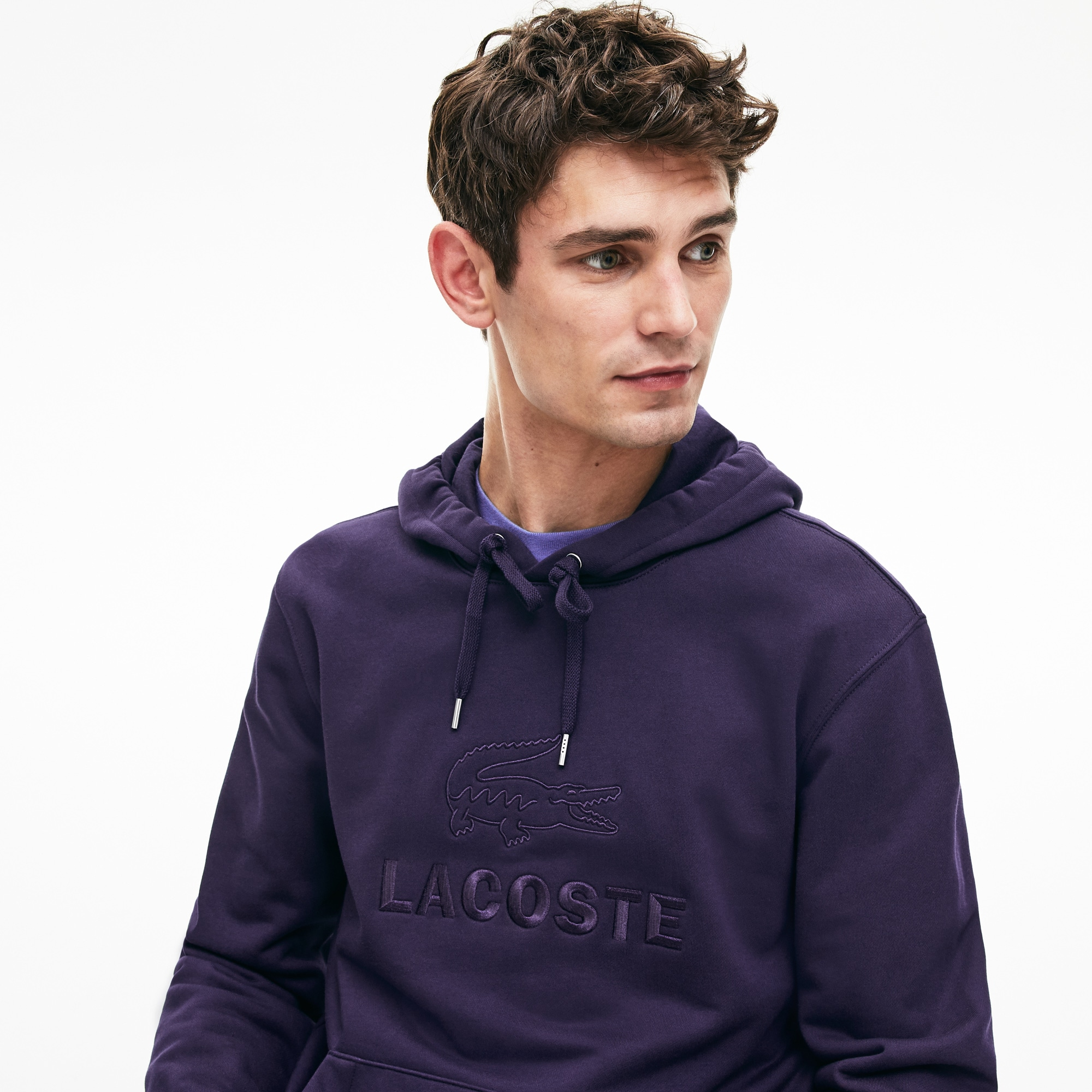 Herren-Sweatshirt Fleece mit Stickereiund Kängurutasche