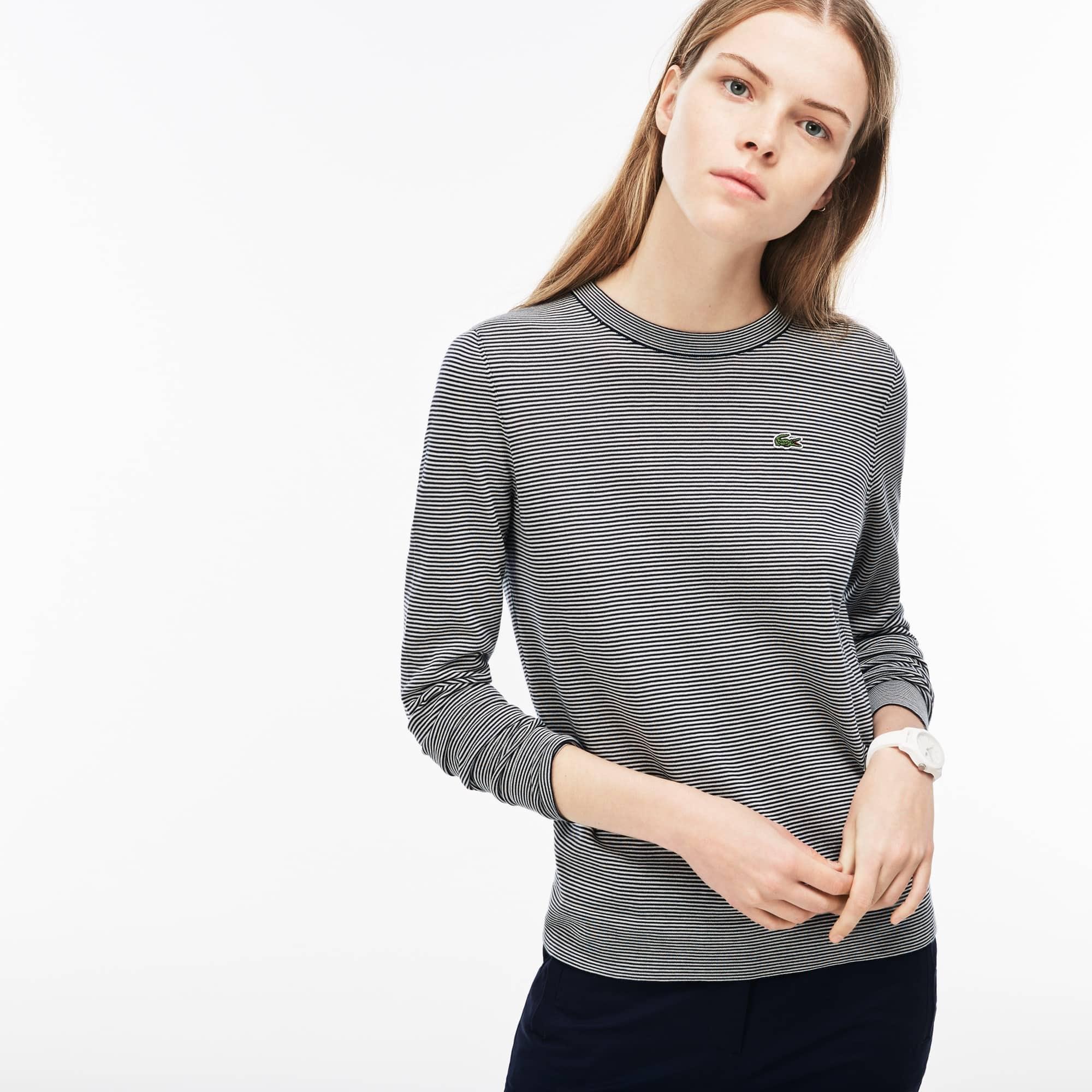 Damen-Pullover aus gestreiftem Baumwolljersey mit Stehkragen
