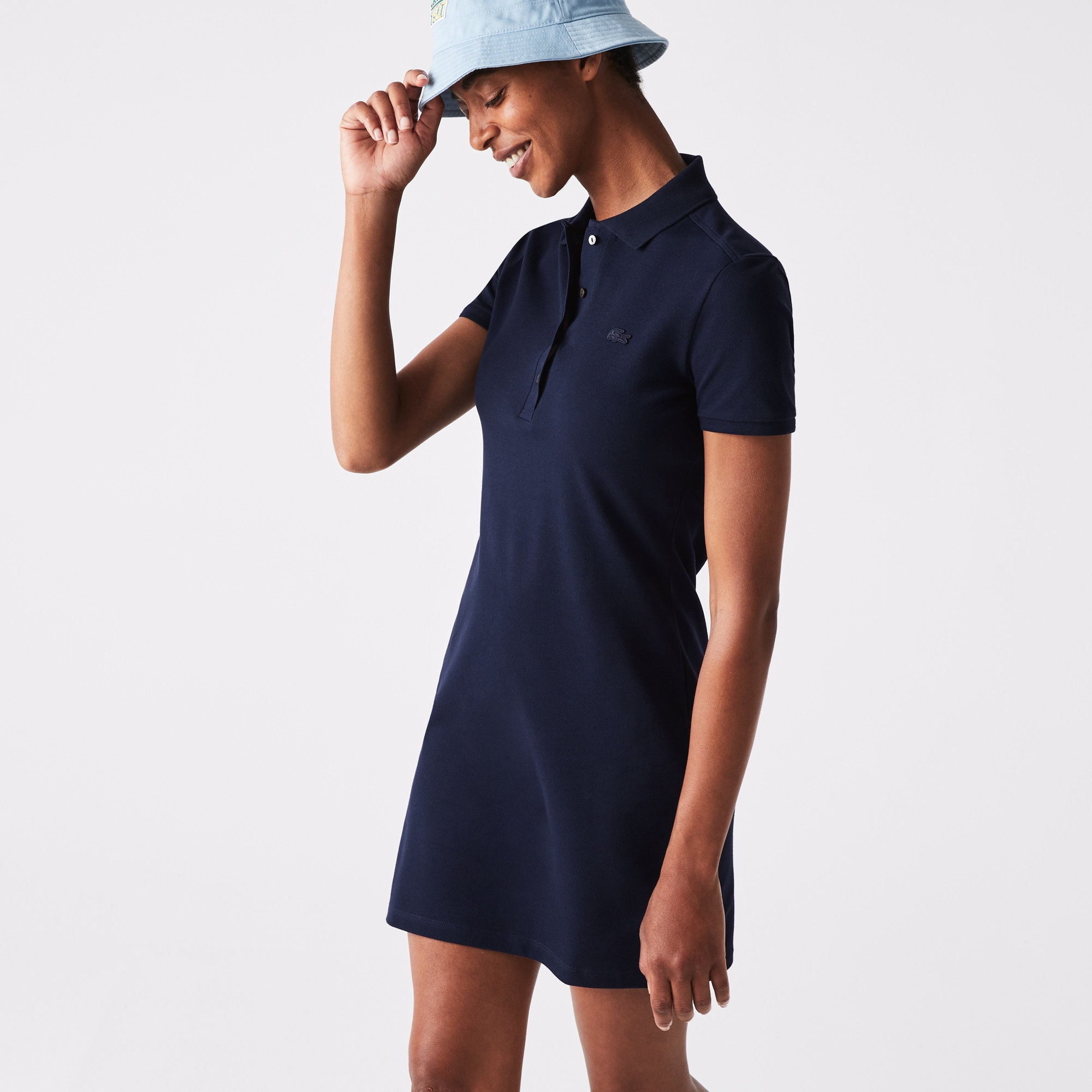 Damen Polokleid aus Stretch-Baumwoll-Piqué