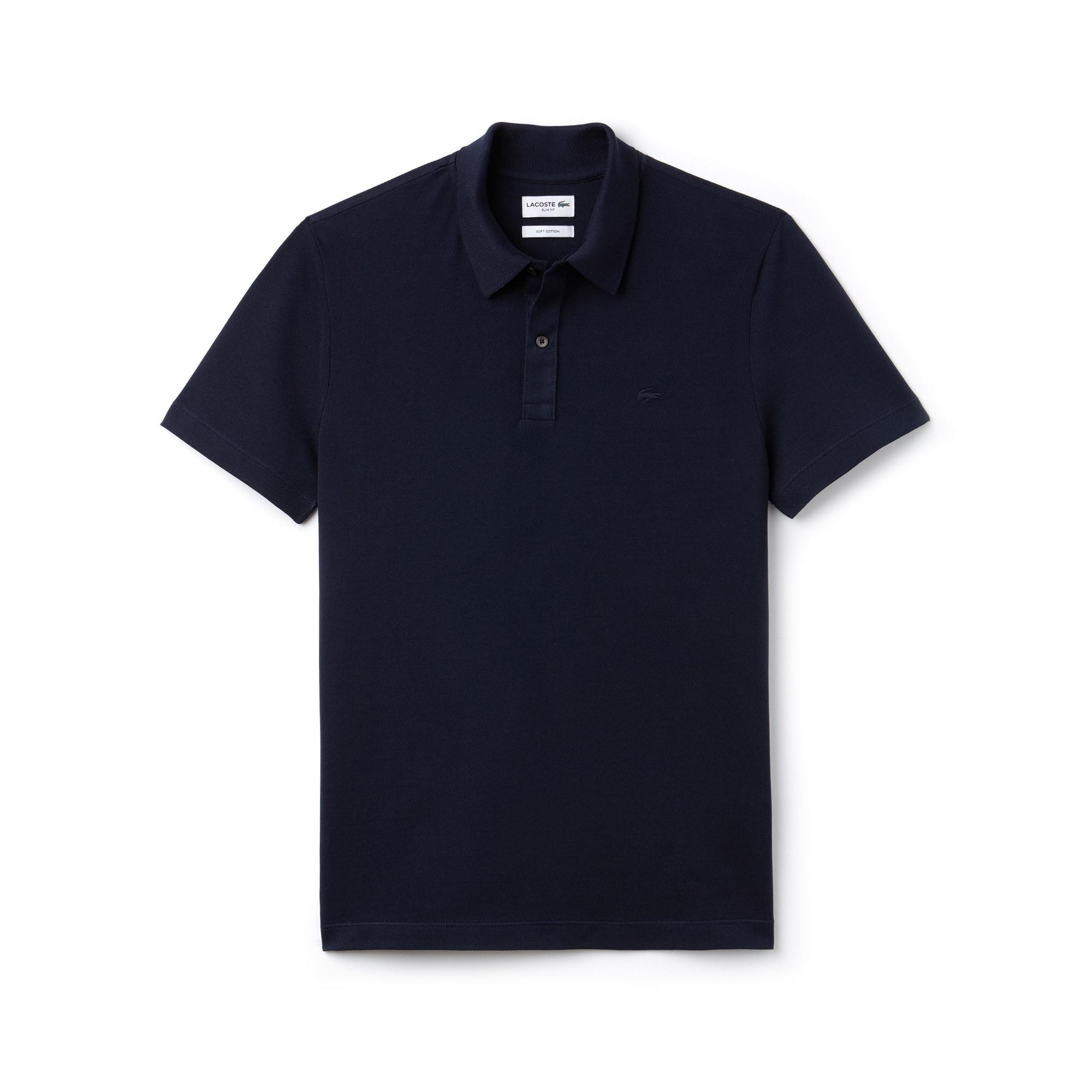 Slim Fit Herren-Polo aus einfarbigem Baumwoll-Piqué