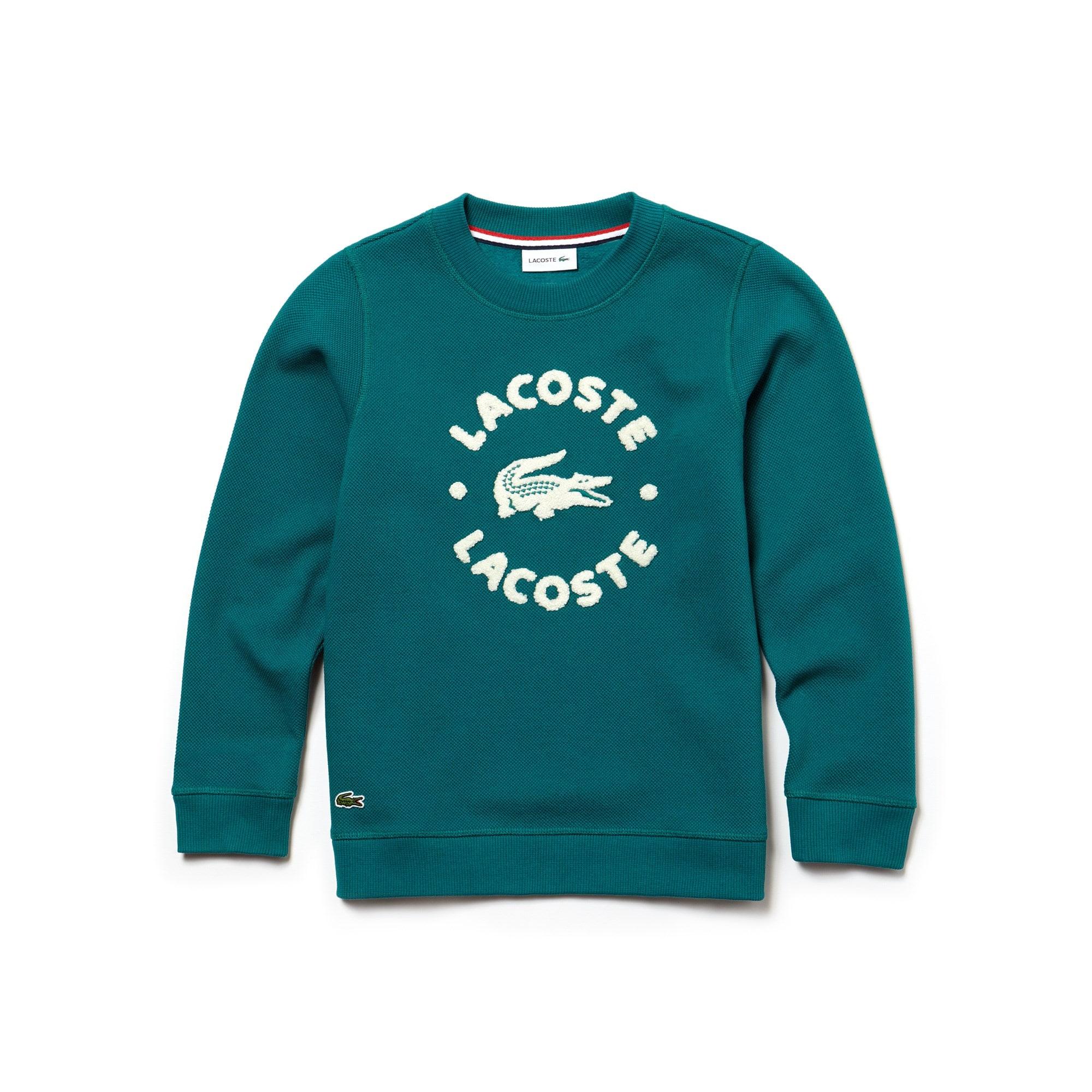 Jungen-Rundhals-Sweatshirt aus Fleece mit LACOSTE-Schriftzug
