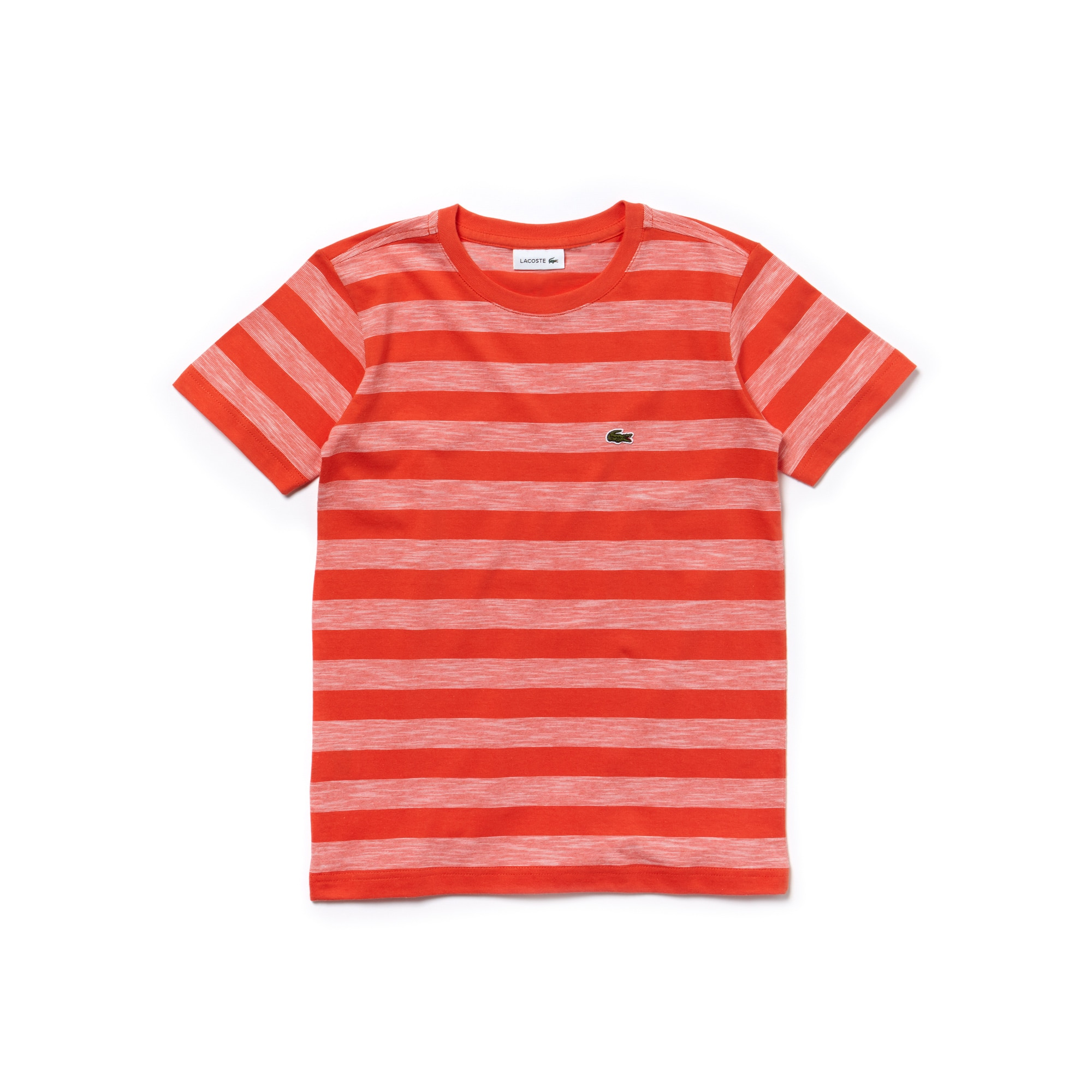 Jungen-Rundhals-T-Shirt aus gestreiftem Baumwolljersey