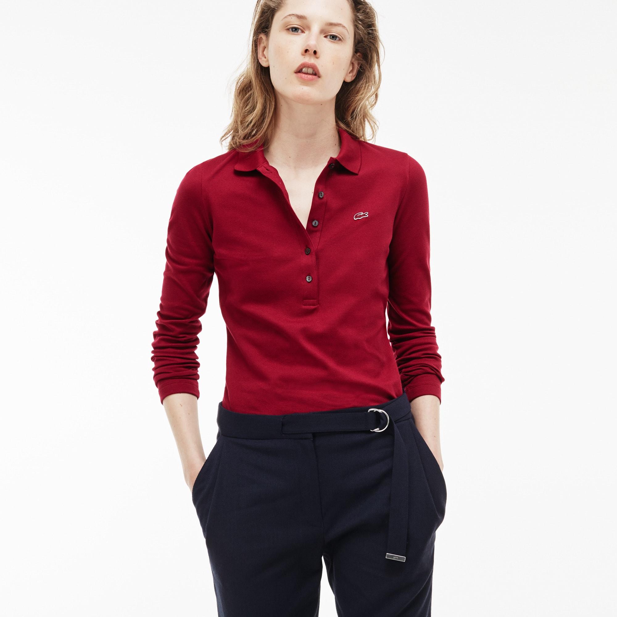 LACOSTE Slim Fit Damen-Poloshirt aus Mini-Piqué mit Stretch