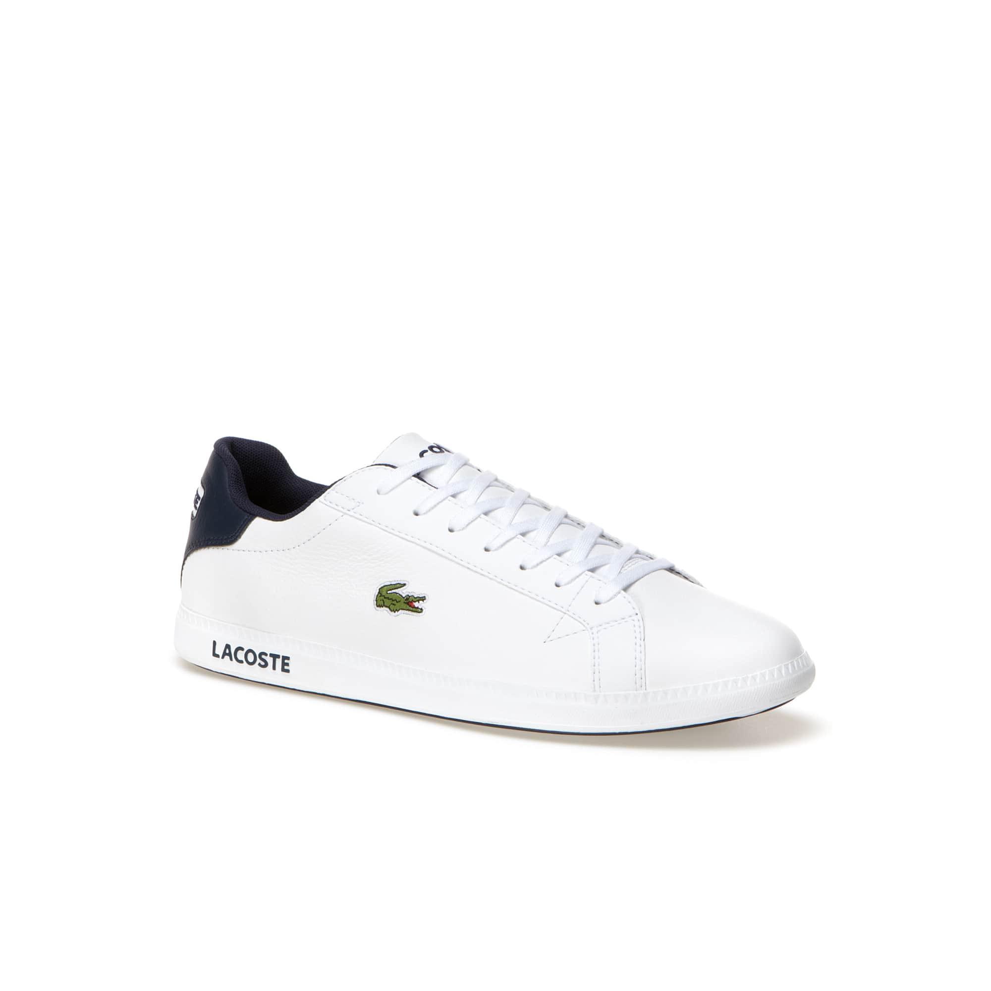 Graduate - Flache Leder-Sneaker mit Außensohle mit Lacoste-Schriftzug