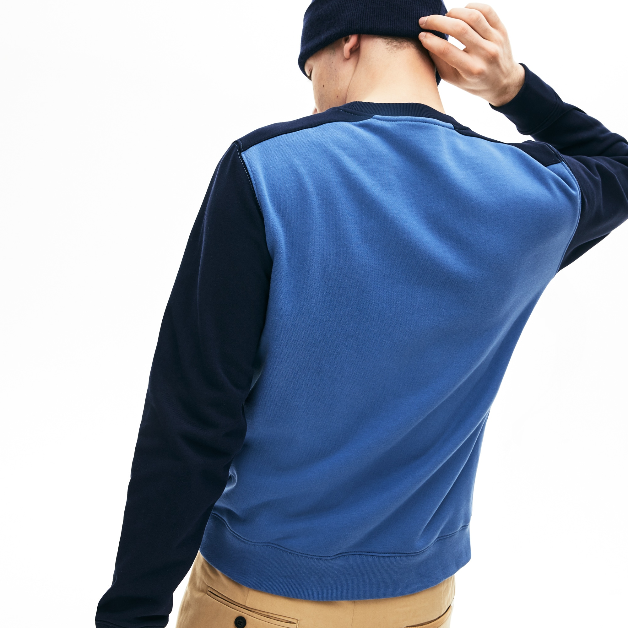 Herren Baumwollfleece-Sweatshirt mit Colourblocks