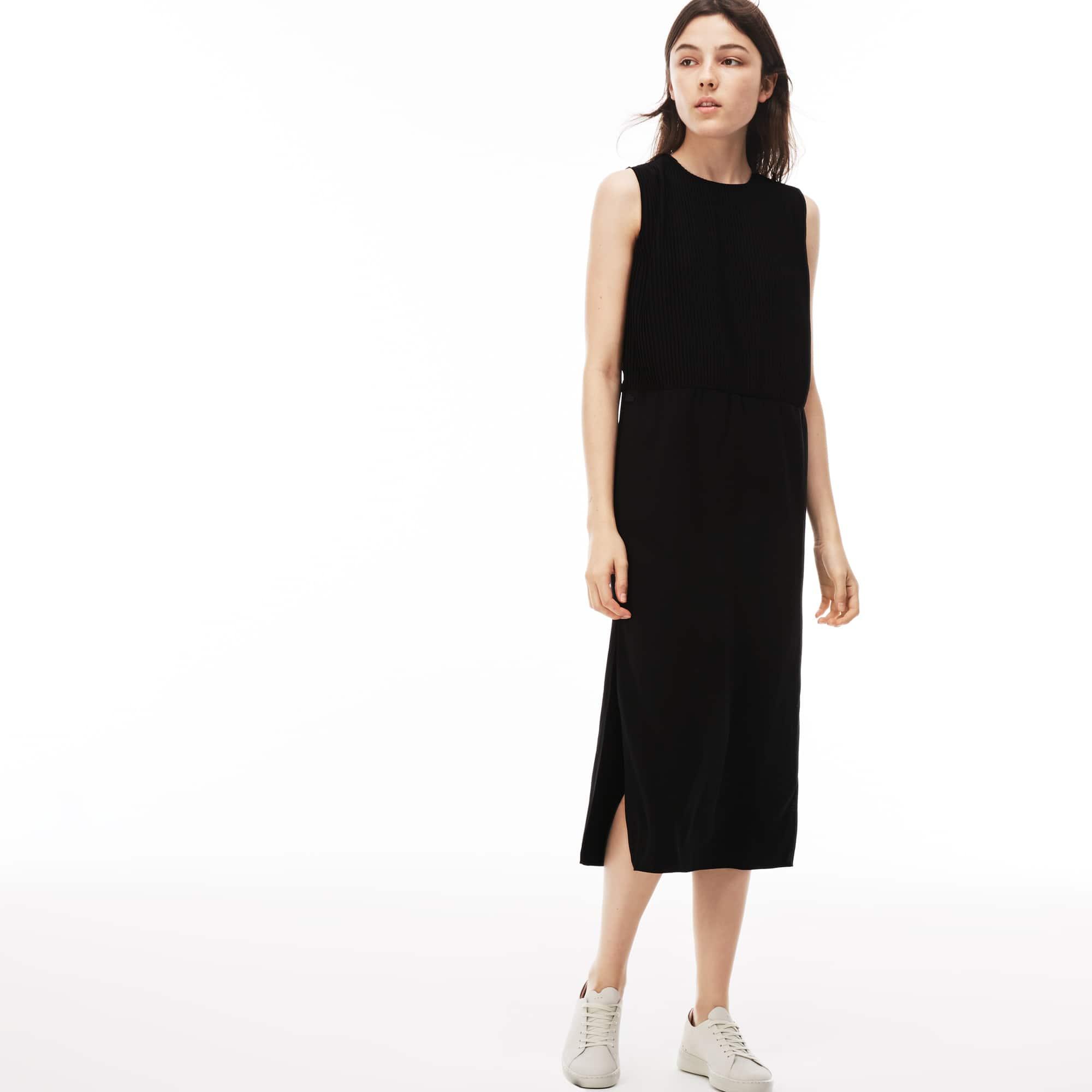Damen-Kleid aus Krepp mit Faltenlegung LACOSTE L!VE