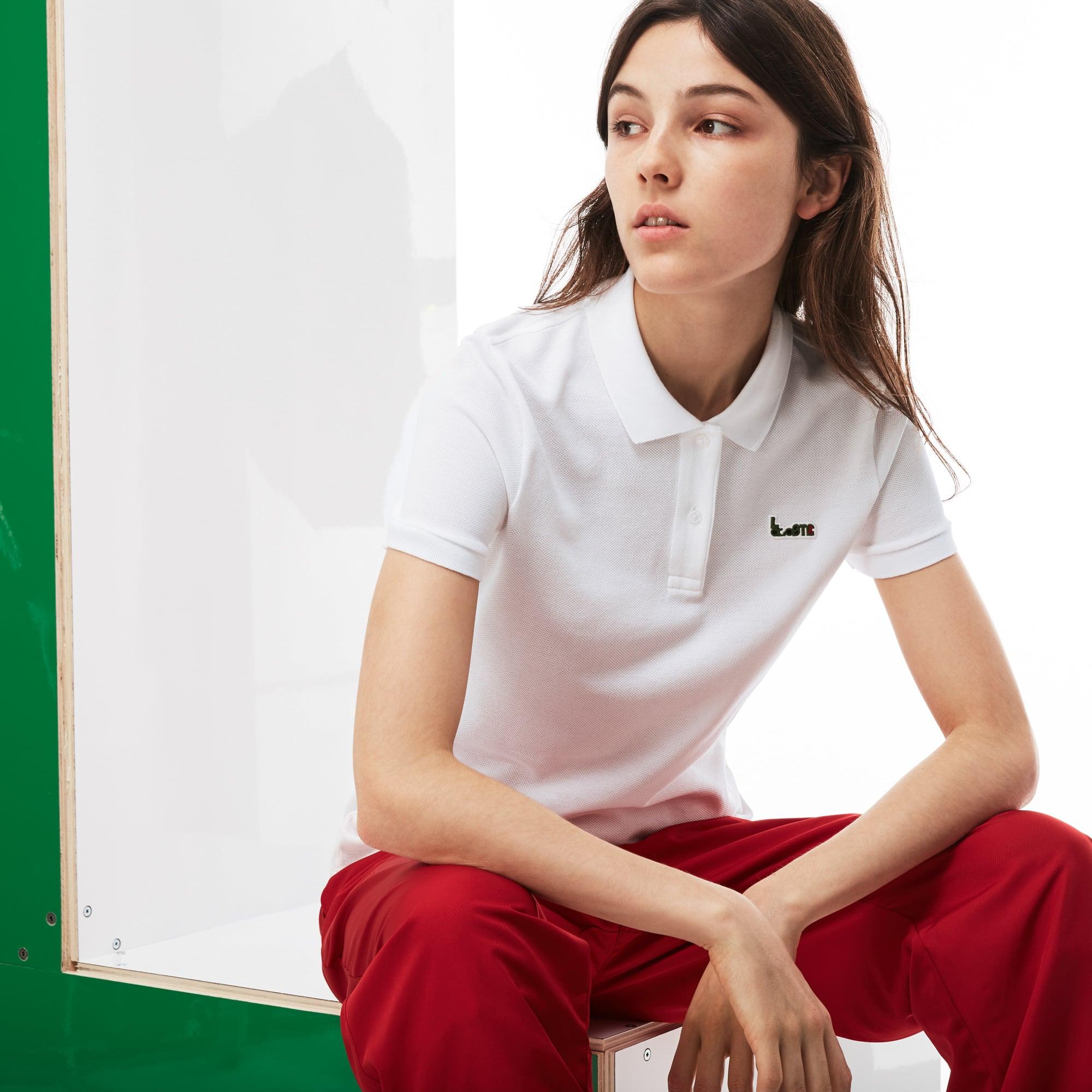 Slim Fit Damen-Poloshirt MM COLLAB aus dickem Baumwoll-Piqué