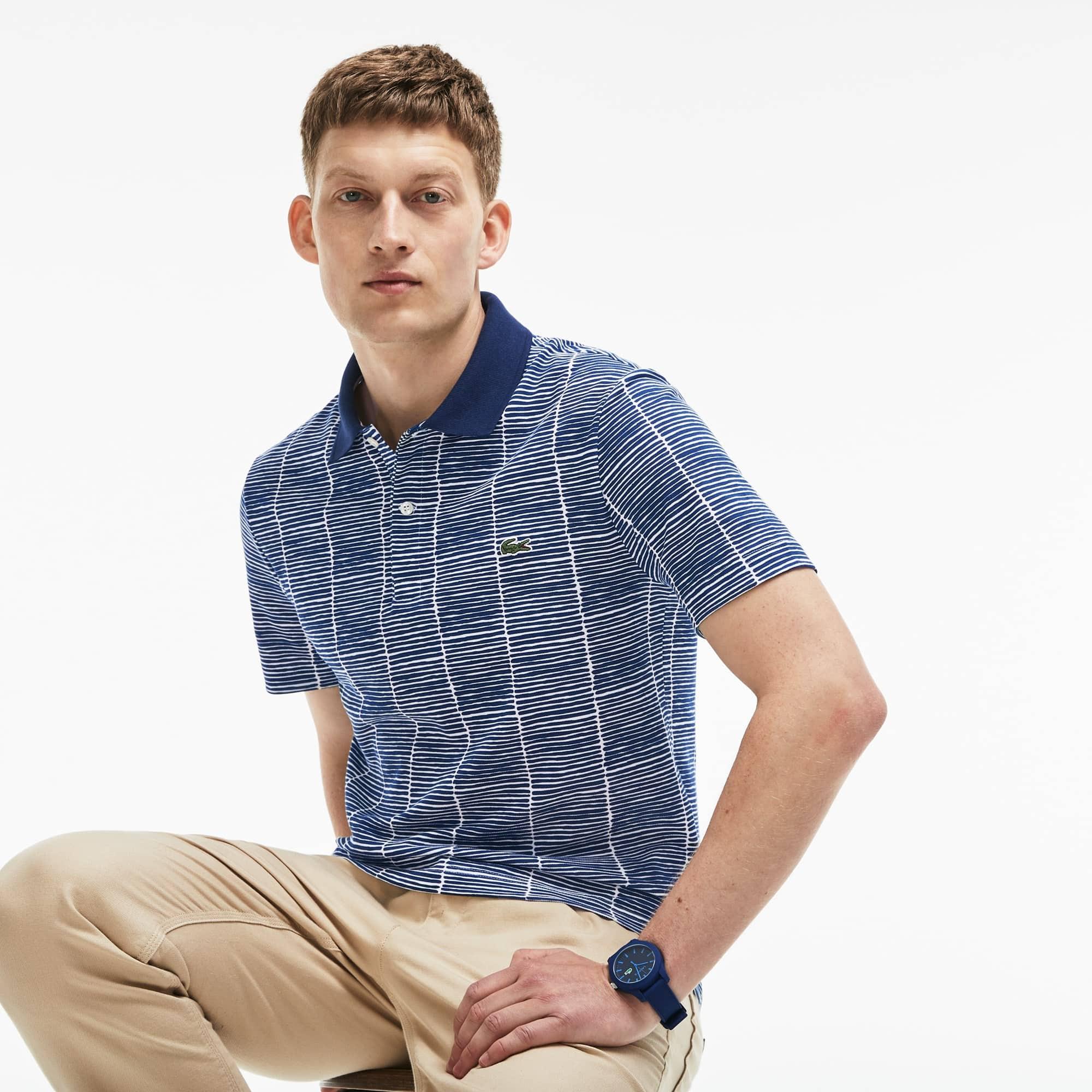 Herren LACOSTE Slim Fit Print Poloshirt aus Baumwoll-Piqué