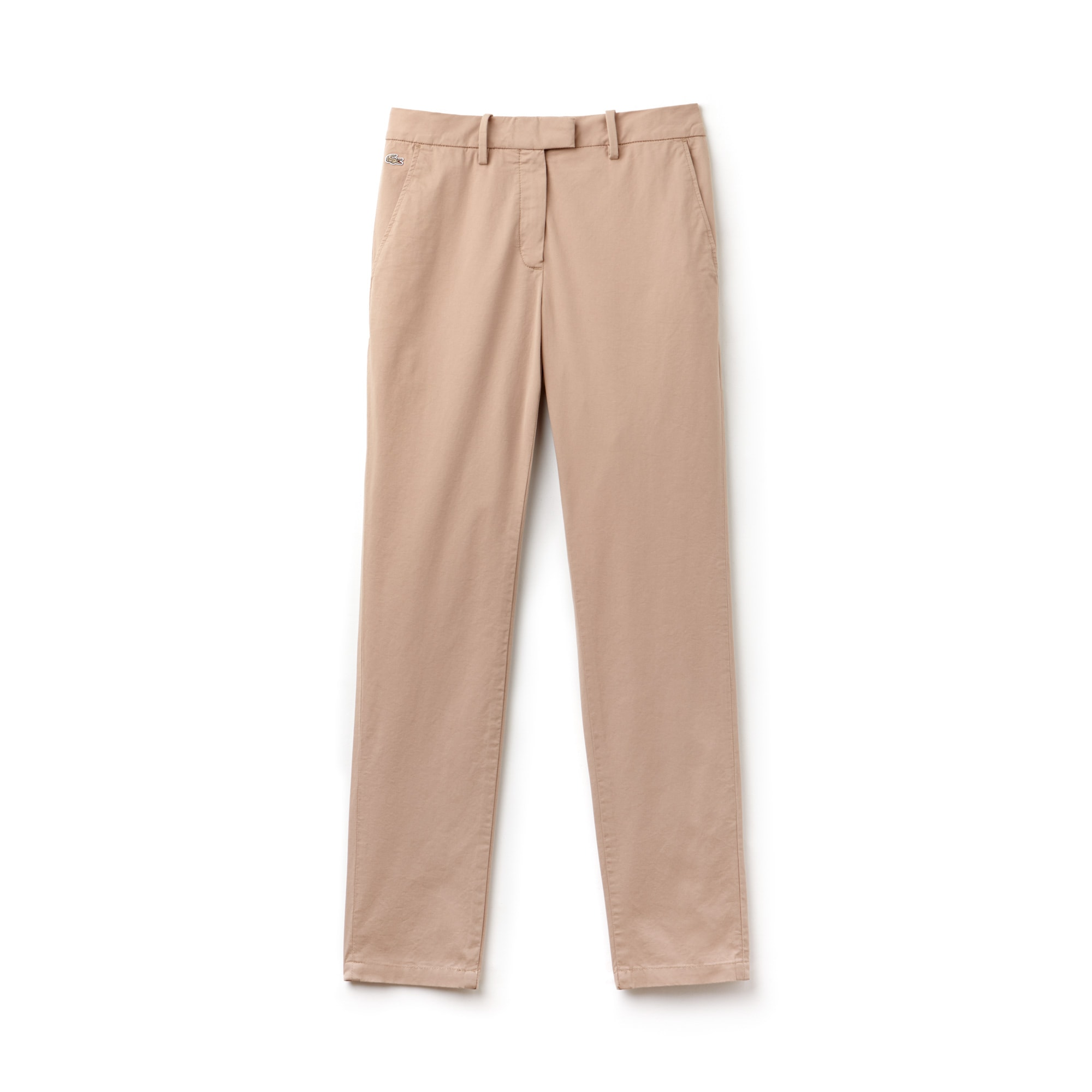 Regular Fit Damen-Chinohose aus Stretch-Gabardine mit Faltenlegung