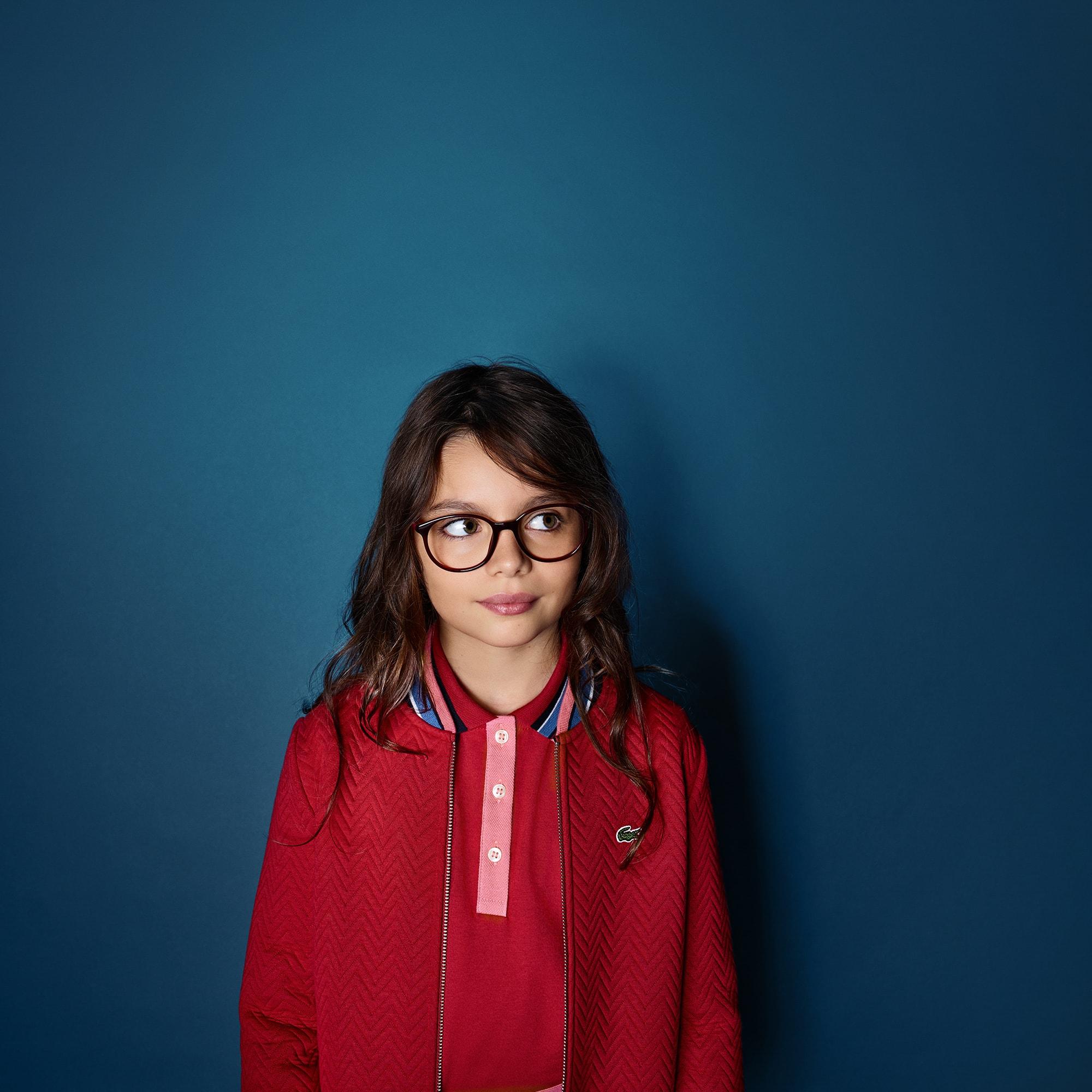 Mädchen-Sweatshirt aus gesteppter Baumwolle mit Teddy-Kragen