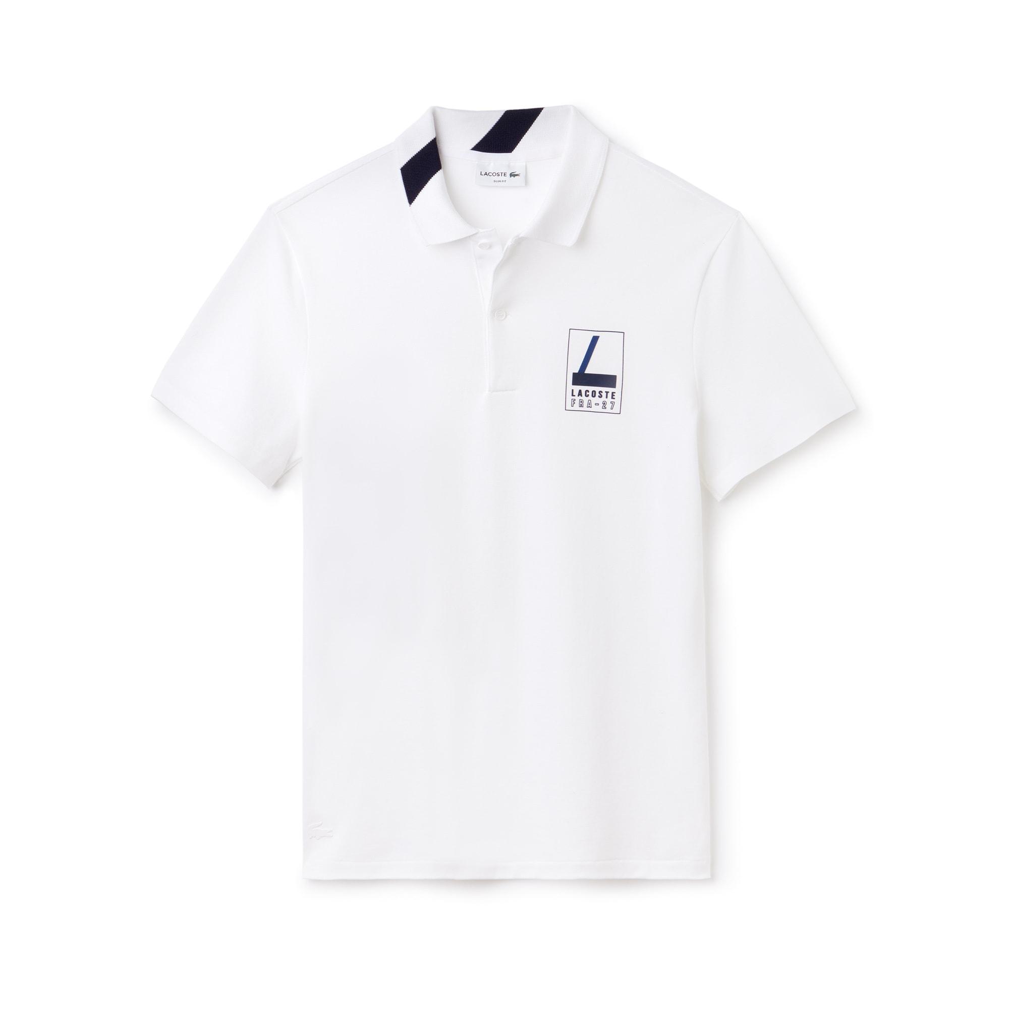Herren LACOSTE Slim Fit Mini-Piqué Poloshirt mit Schriftzug