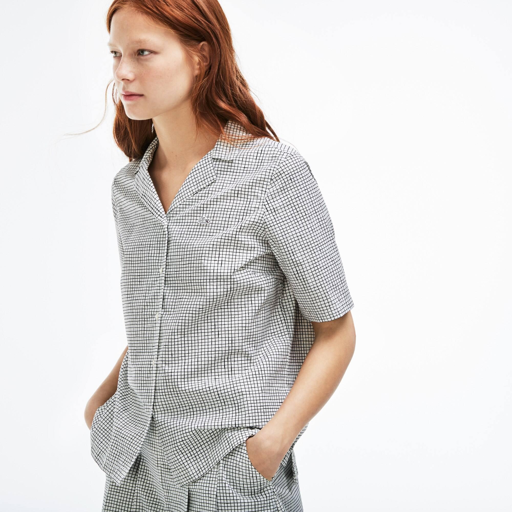 Damen-Bluse aus bedruckter Popeline LACOSTE L!VE
